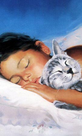 3785 baixar papel de parede Animais, Pessoas, Gatos, Crianças, Imagens - protetores de tela e imagens gratuitamente