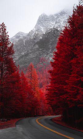 61856 скачать обои Природа, Дорога, Поворот, Деревья, Красный, Гора, Пейзаж - заставки и картинки бесплатно