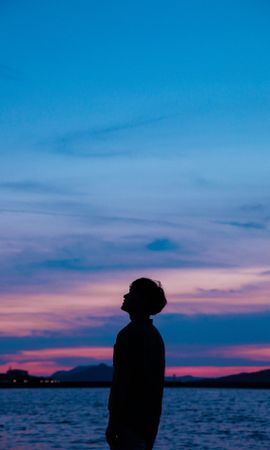 97832 Screensavers and Wallpapers Dark for phone. Download Dark, Guy, Silhouette, Sunset, Sky, Sea pictures for free