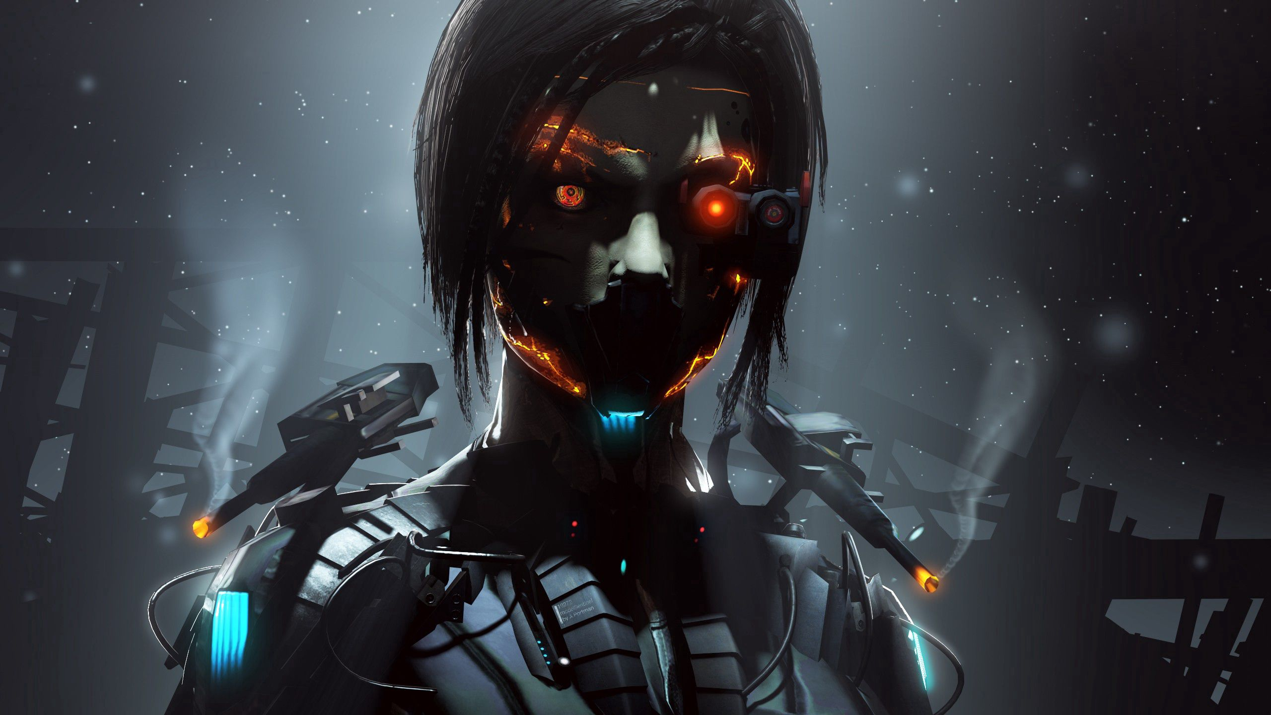 72559 download wallpaper Dark, Art, Eyes, Robot, Cyborg screensavers and pictures for free