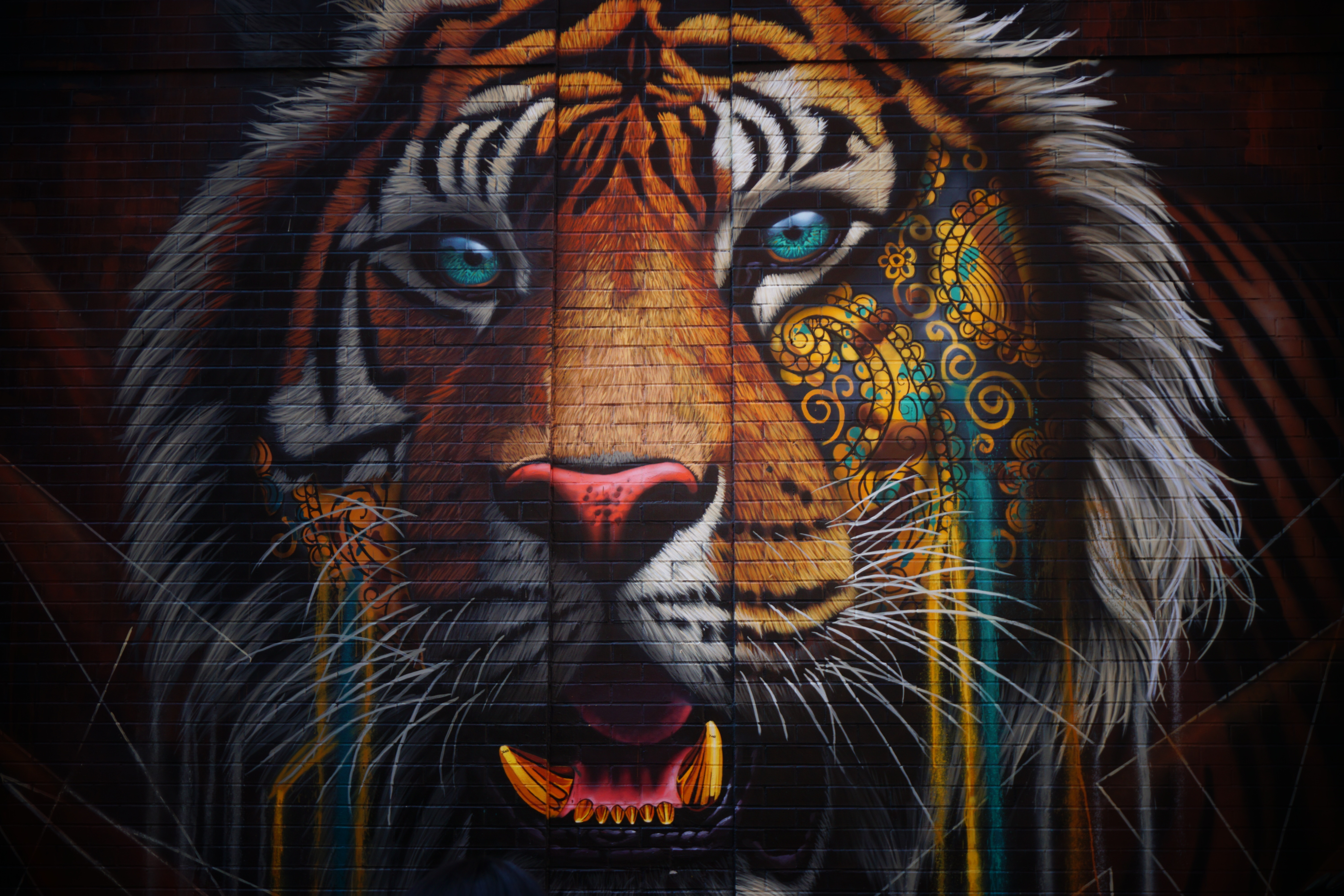 130475 download wallpaper Animals, Multicolored, Motley, Wall, Tiger, Graffiti, Street Art screensavers and pictures for free