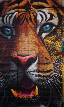 130475 免費下載壁紙 动物, 老虎, 虎, 涂鸦, 街头艺术, 墙, 墙面, 多彩多姿, 五颜六色 屏保和圖片