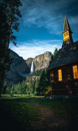 106311 скачать обои Природа, Дом, Деревья, Небо, Горы, Пейзаж - заставки и картинки бесплатно