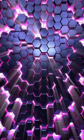 お使いの携帯電話の91330スクリーンセーバーと壁紙3D。 3D, ハニカム, 蜂の巣, グロー, 匂う, ボリューム, 容積の写真を無料でダウンロード