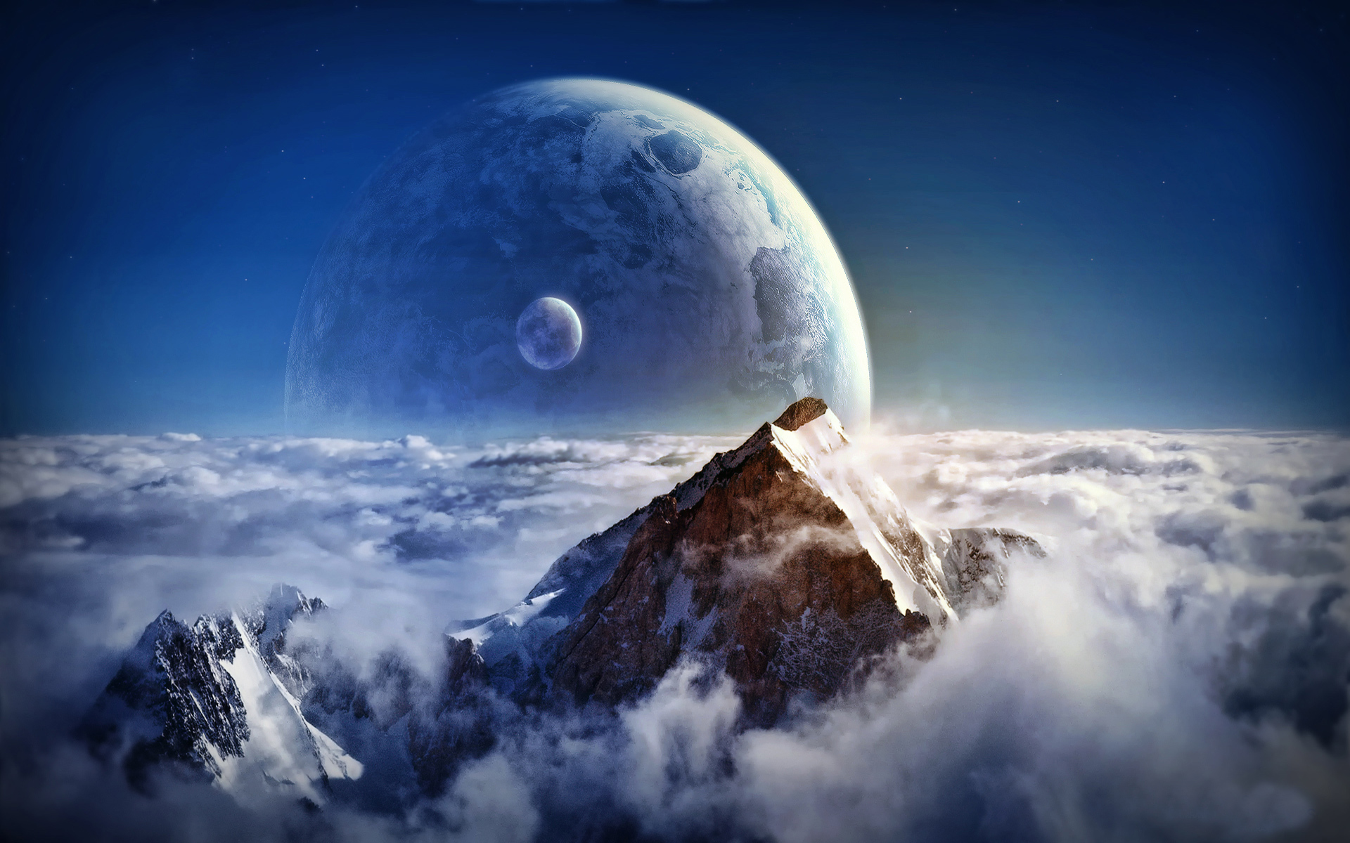 Download mobile wallpaper Mountains, Fantasy, Planets, Landscape for free.