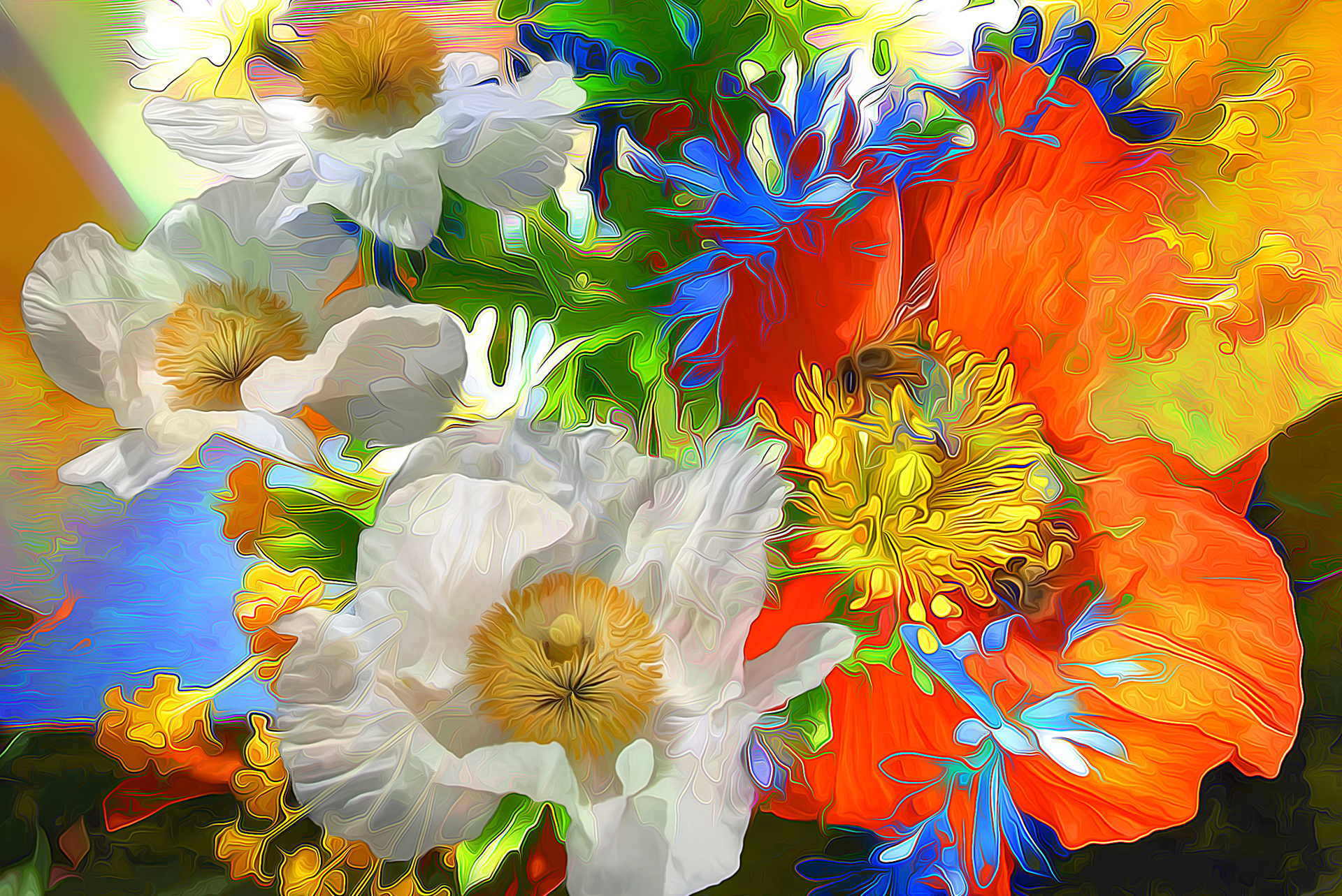 96139 download wallpaper Abstract, Rendering, Bright, Lines, Flowers screensavers and pictures for free