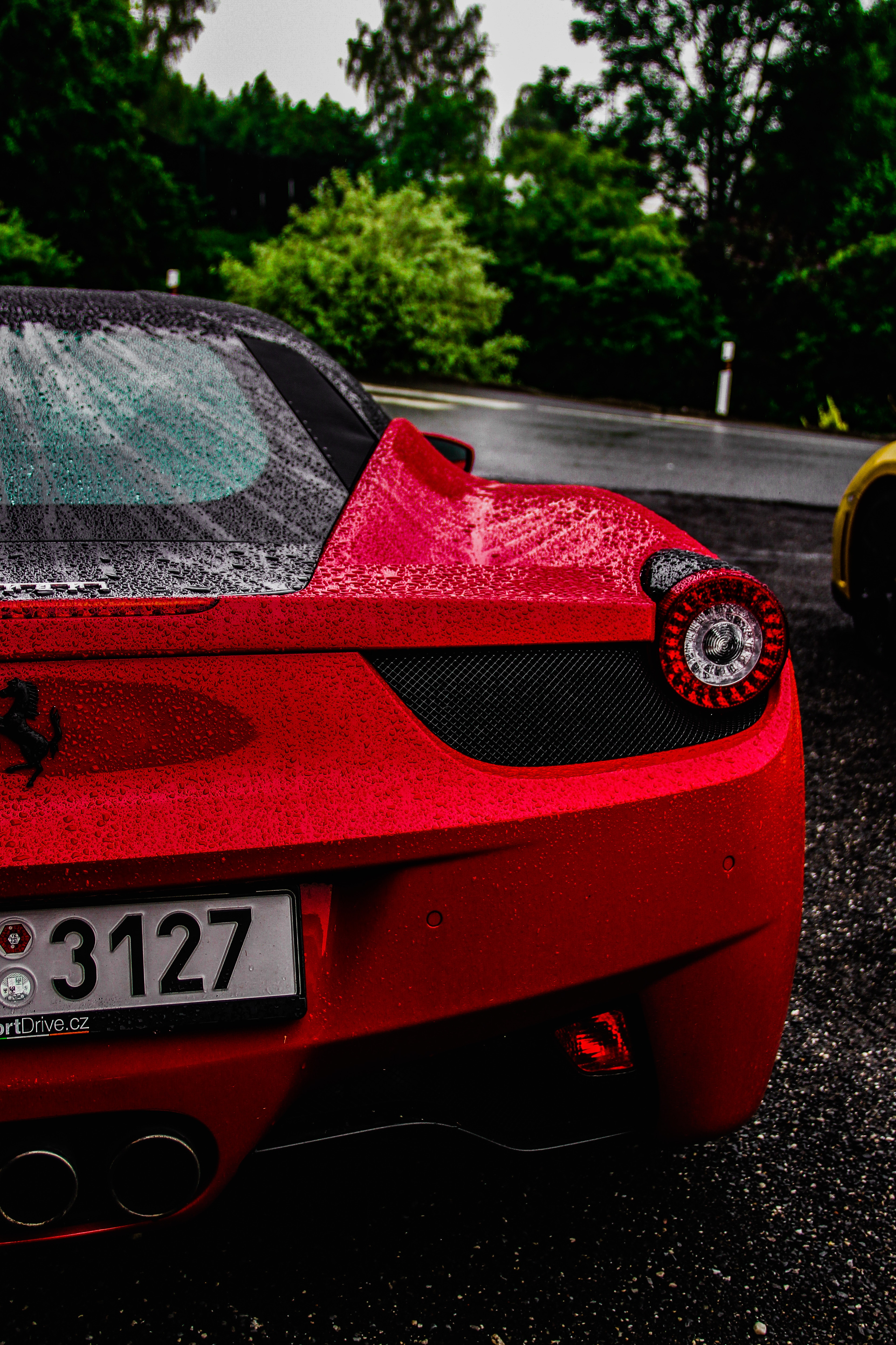 75400 download wallpaper Cars, Ferrari, Sports Car, Sports, Drops, Moisture screensavers and pictures for free