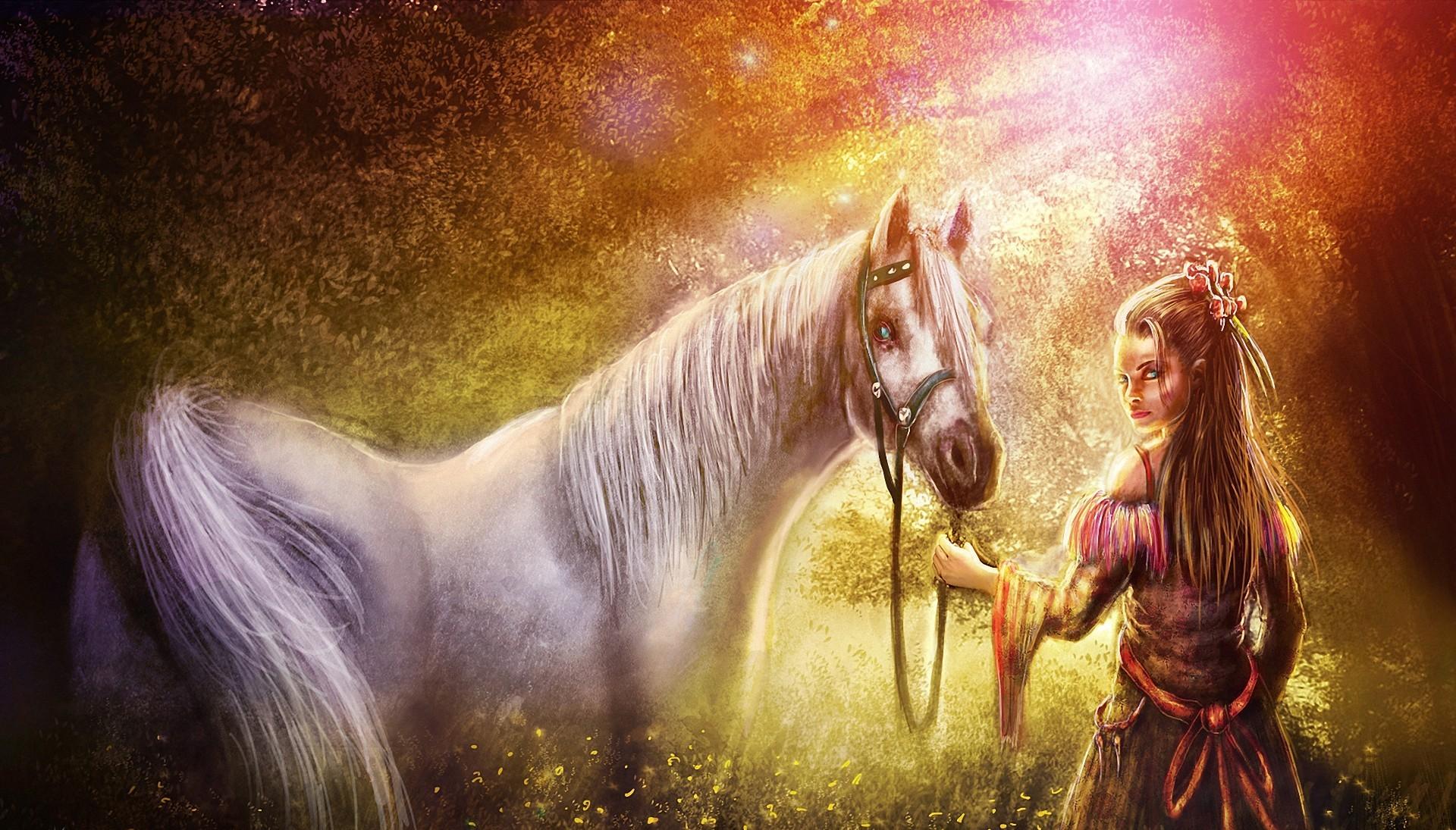154909 Hintergrundbild herunterladen Fantasie, Natur, Mädchen, Kunst, Wald, Pferd - Bildschirmschoner und Bilder kostenlos