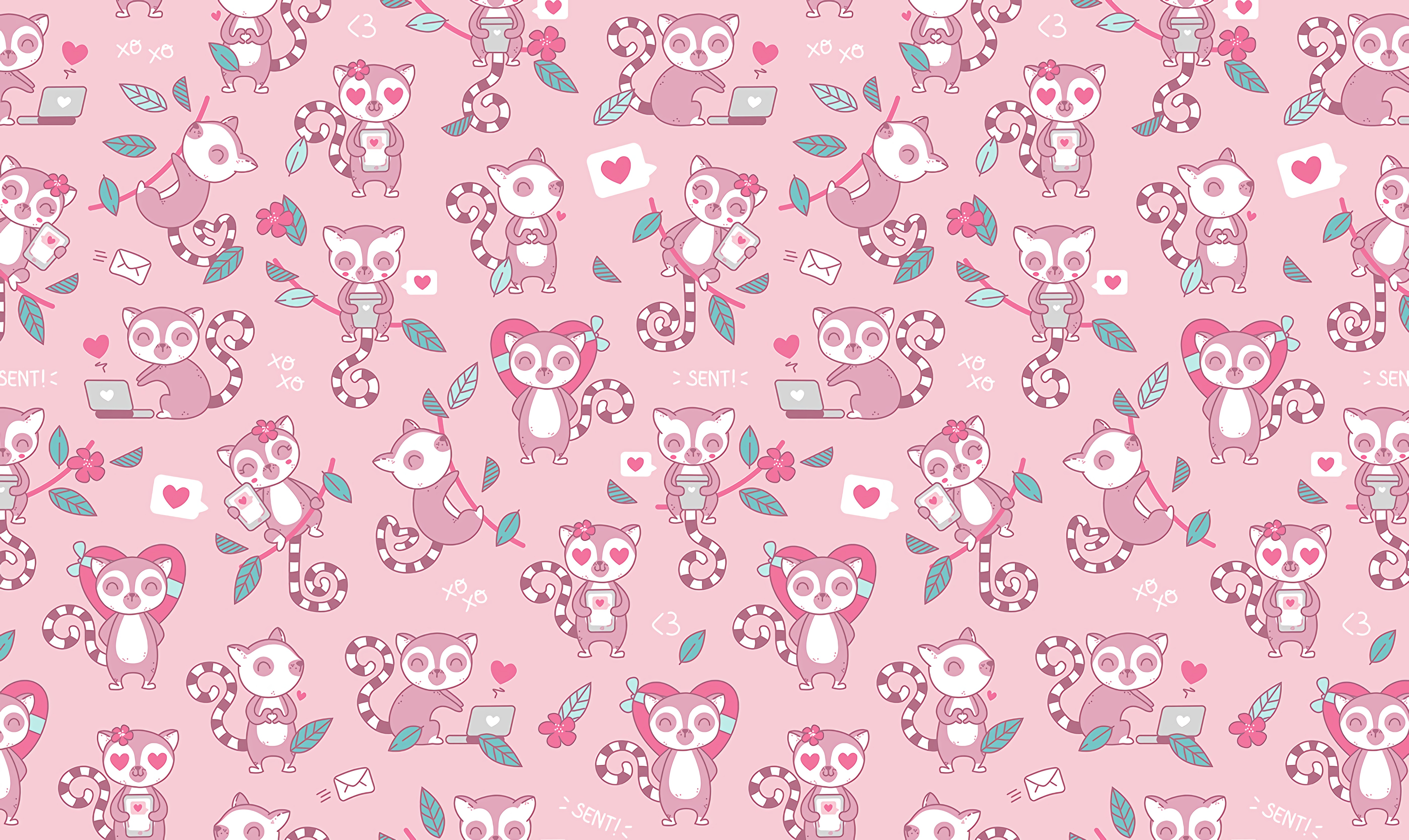105540 Screensavers and Wallpapers Lemurs for phone. Download Art, Lemurs, Love, Vector, Pattern pictures for free