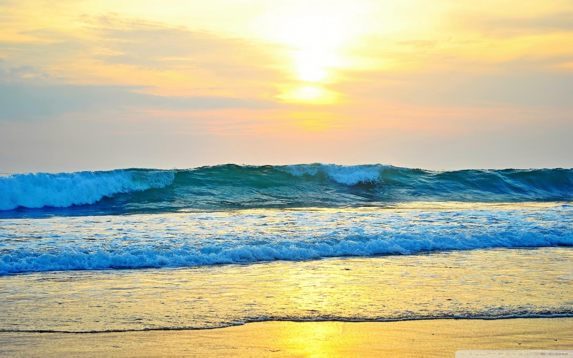 22393 скачать обои Пейзаж, Закат, Море, Волны, Пляж - заставки и картинки бесплатно