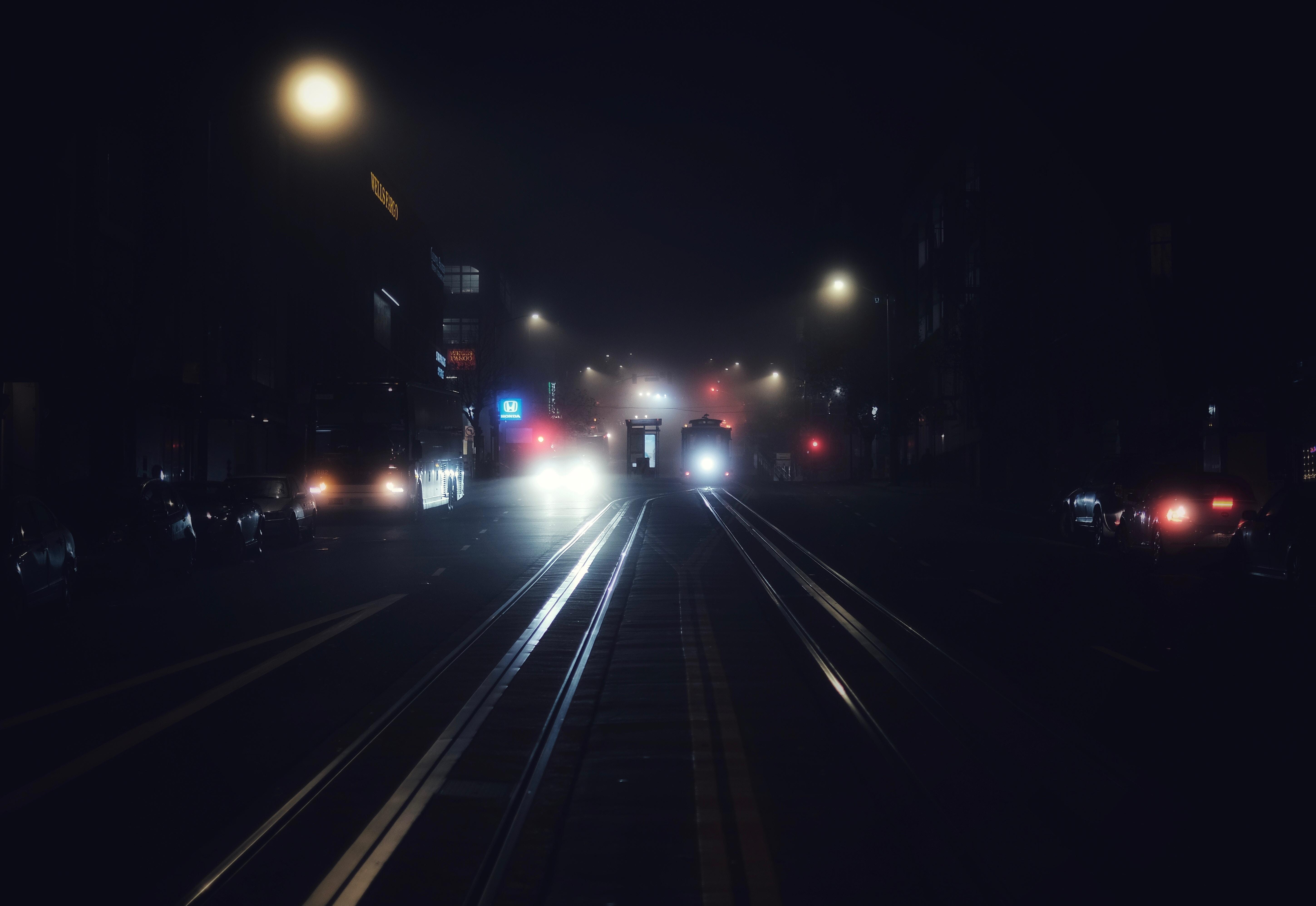 58678 скачать обои Темные, Ночной Город, Транспорт, Туман, Ночь, Сан-Франциско, Сша - заставки и картинки бесплатно