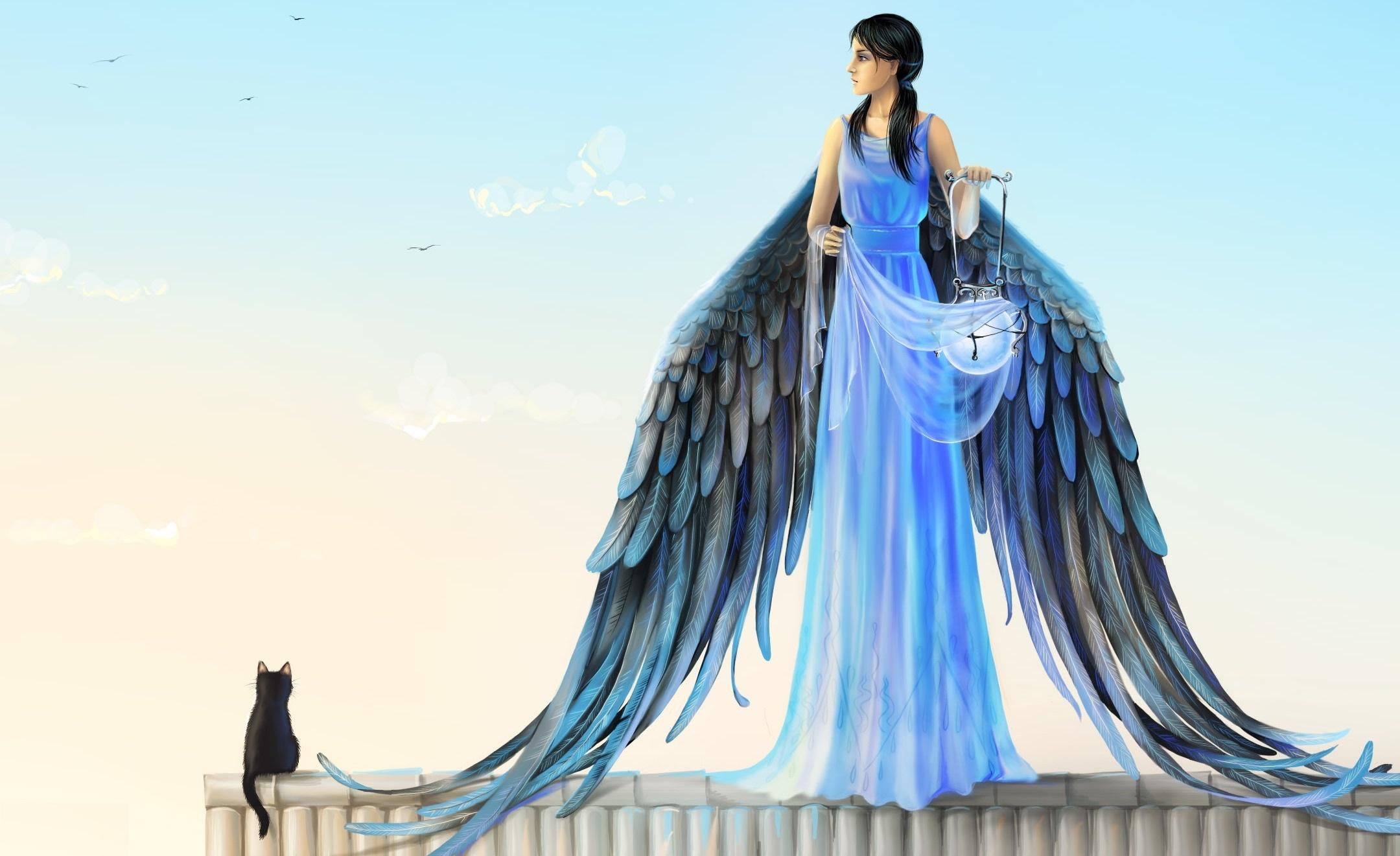 121695 Hintergrundbild herunterladen Engel, Mädchen, Kunst, Der Kater, Katze, Lampe, Flügel, Dach - Bildschirmschoner und Bilder kostenlos