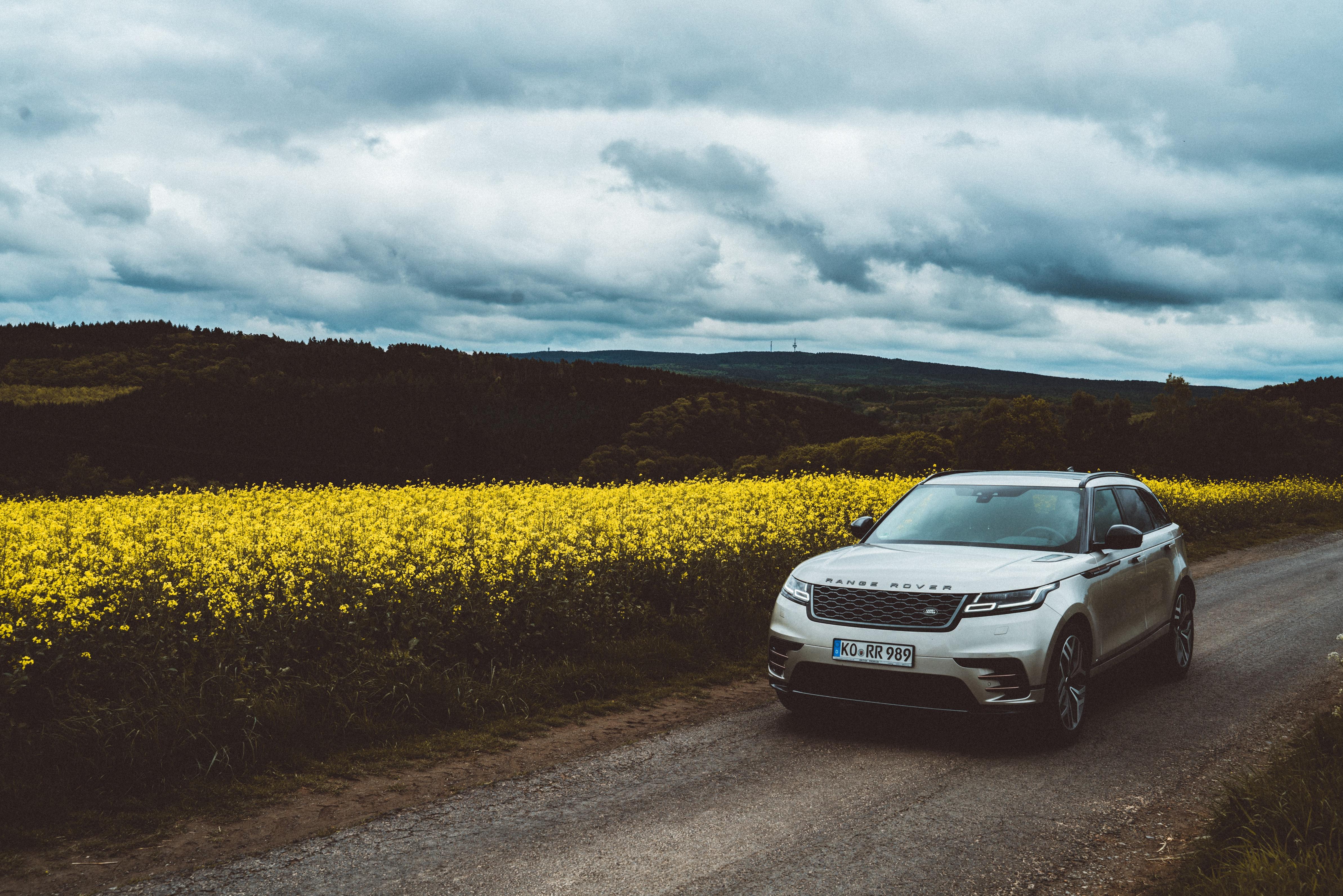 129891 скачать обои Тачки (Cars), Рендж Ровер (Range Rover), Машина, Внедорожник, Вид Спереди, Дорога, Холмы - заставки и картинки бесплатно