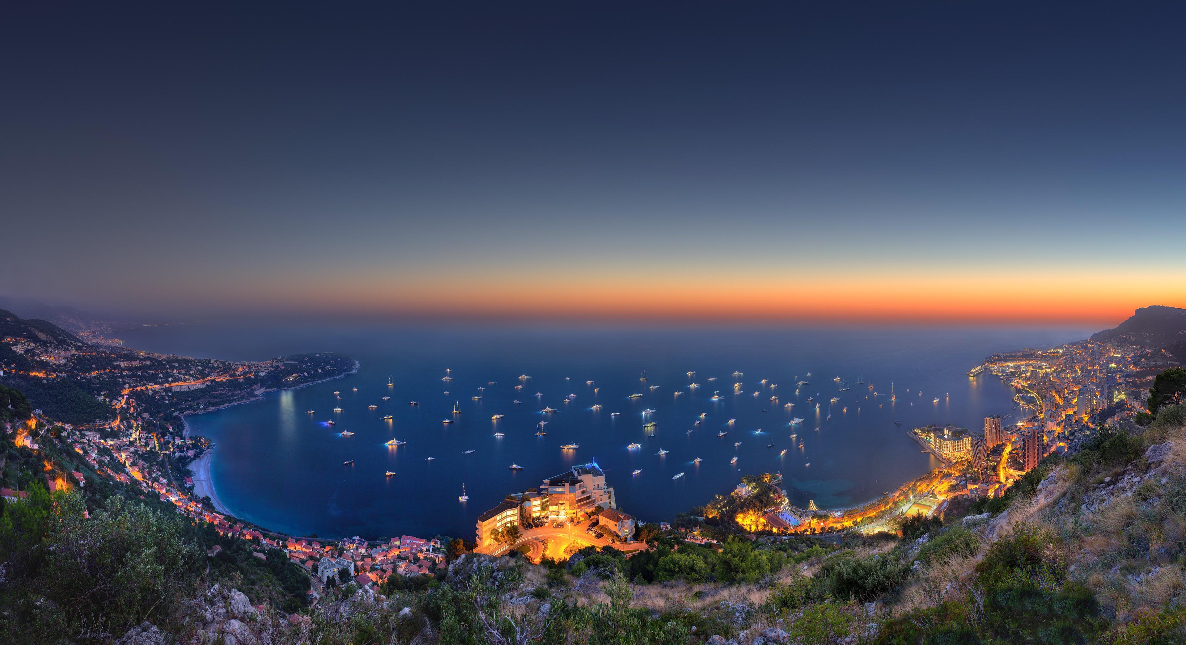 54976 免費下載壁紙 摩纳哥, Monaco, 游艇展 2014, Yacht Show 2014, 夜, 从上面看, 顶视图, 城市 屏保和圖片