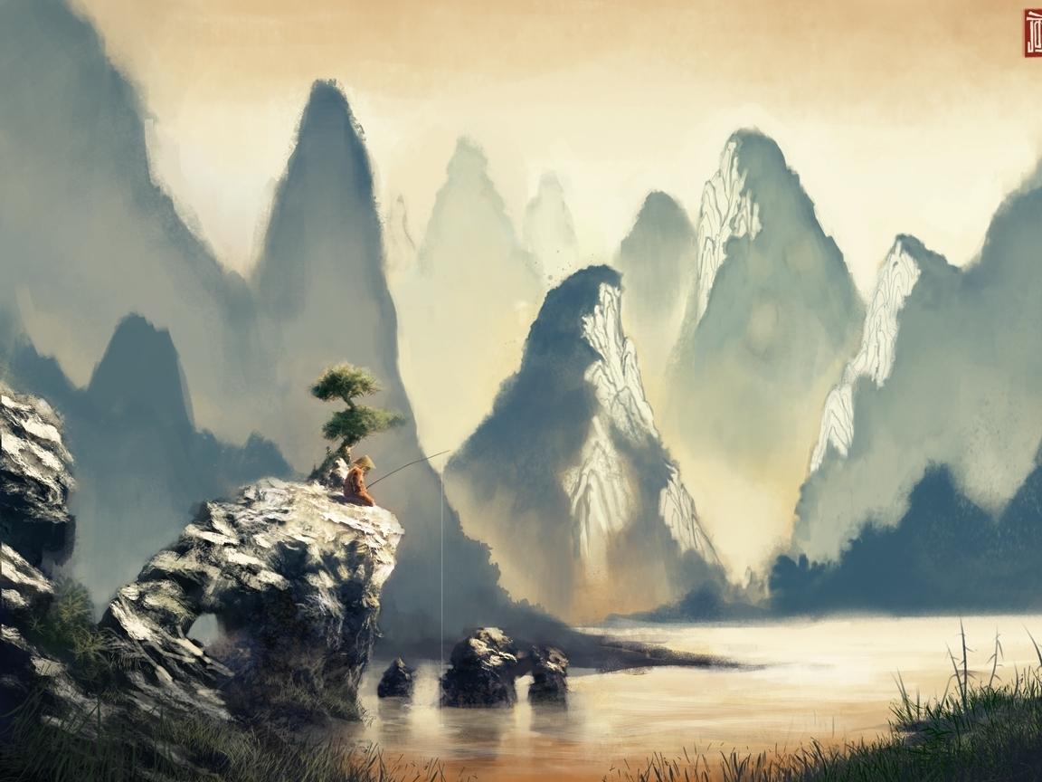 27369 скачать обои Люди, Река, Горы, Рисунки - заставки и картинки бесплатно