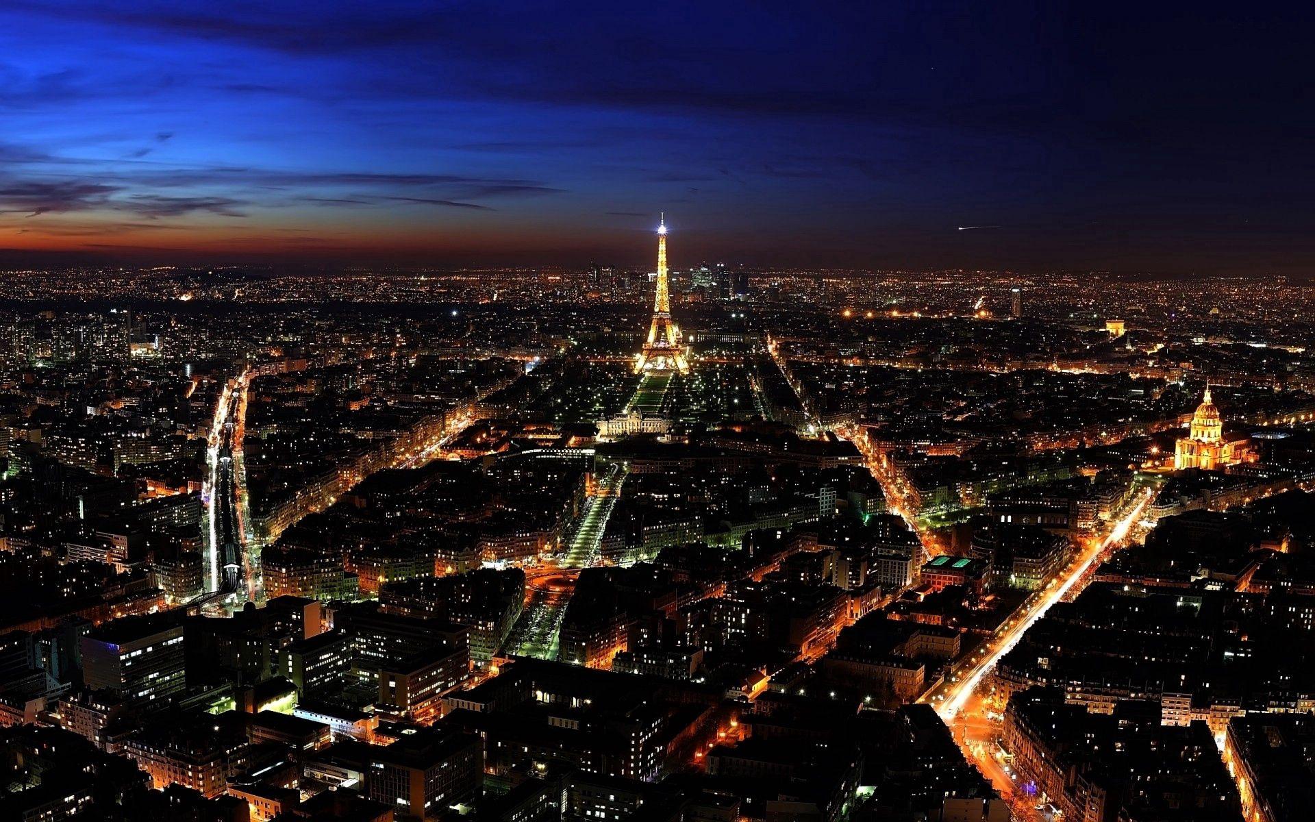 67955壁紙のダウンロードパリ, フランス, ナイト, 上から見る, 街の明かり, シティライツ, 都市-スクリーンセーバーと写真を無料で