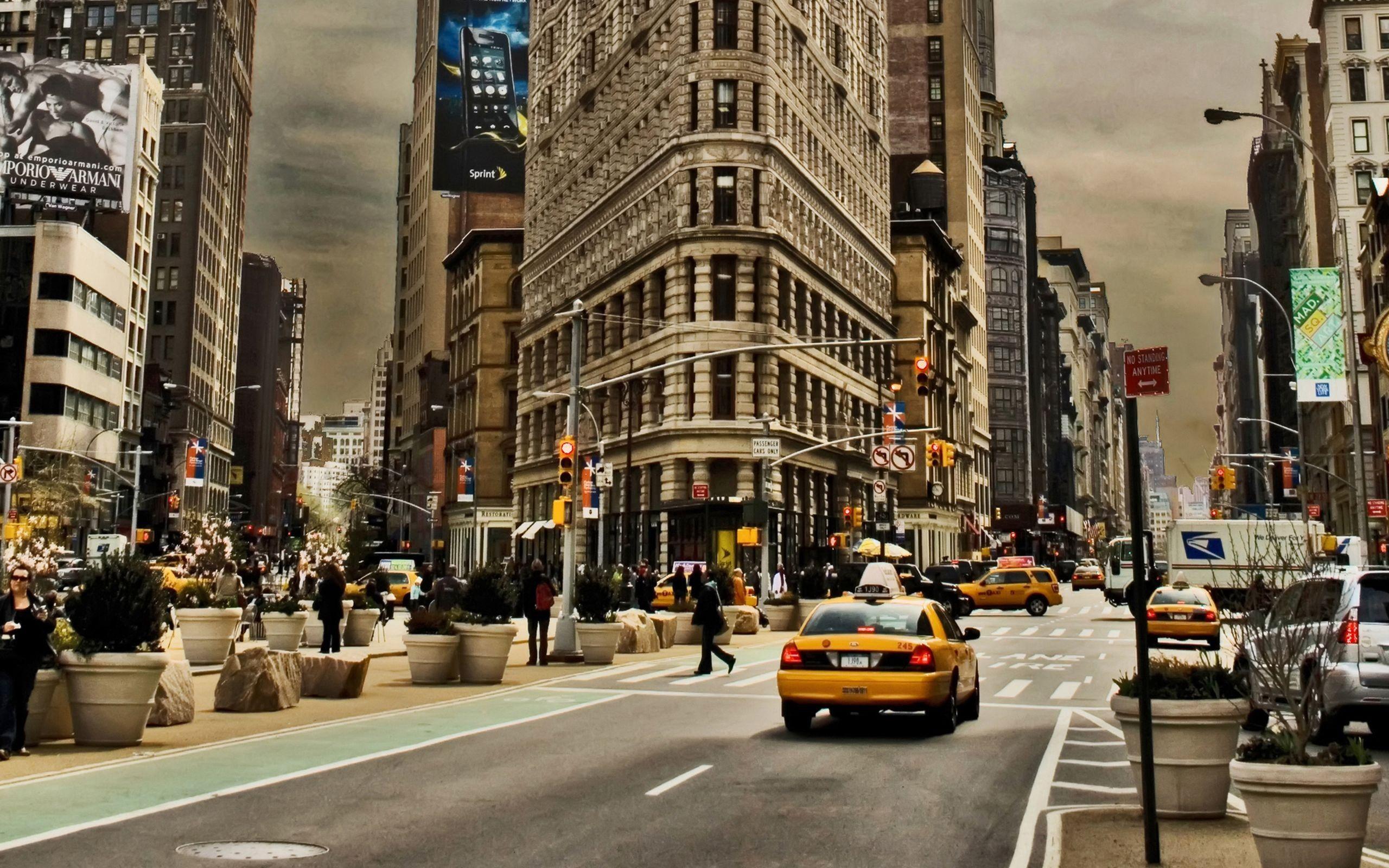 92732 скачать обои Города, Город, Здания, Движение, Автомобили, Улица, Нью-Йорк - заставки и картинки бесплатно