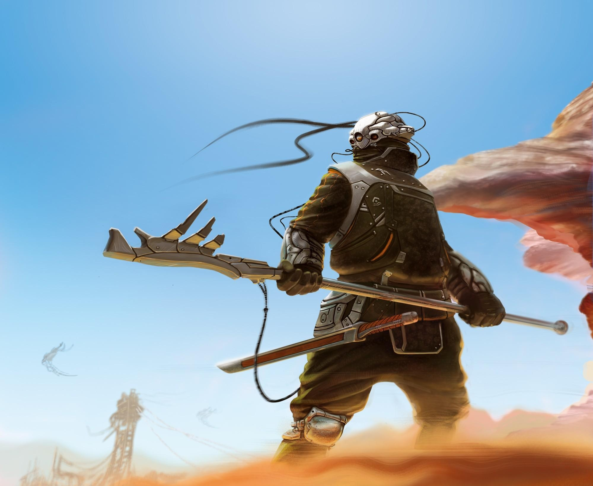 124065 download wallpaper Fantasy, Sky, Sand, Weapon, Cyborg screensavers and pictures for free