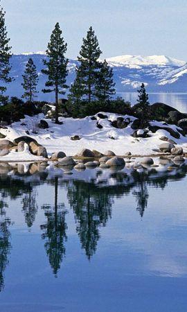 24884 скачать обои Пейзаж, Зима, Деревья, Горы, Озера - заставки и картинки бесплатно