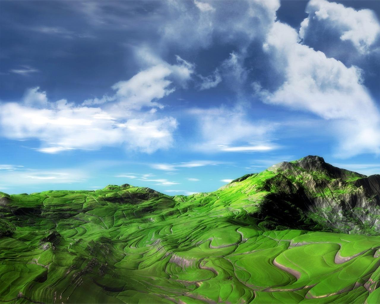 7504 скачать обои Пейзаж, Небо, Арт, Горы - заставки и картинки бесплатно