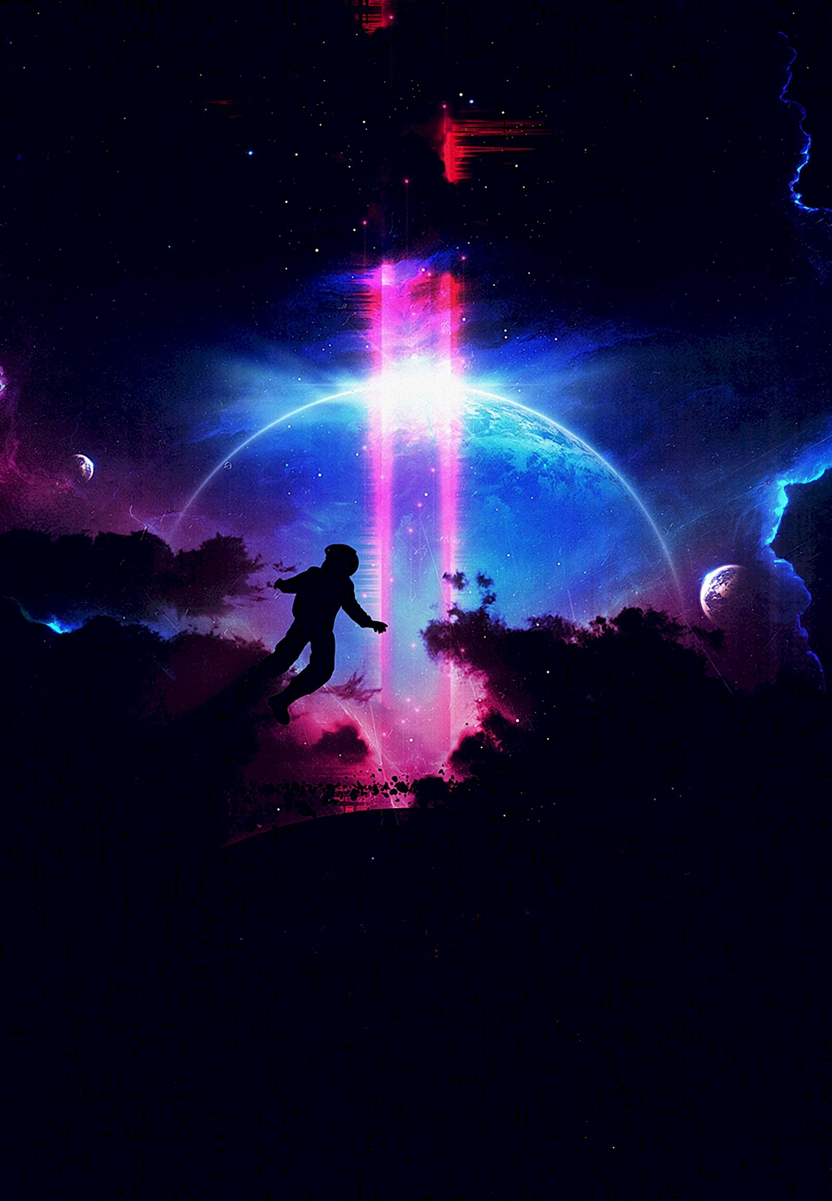 82580 Hintergrundbild herunterladen Dunkel, Silhouette, Mehrfarbig, Motley, Dunkelheit, Planet, Planeten, Prallen, Springen - Bildschirmschoner und Bilder kostenlos