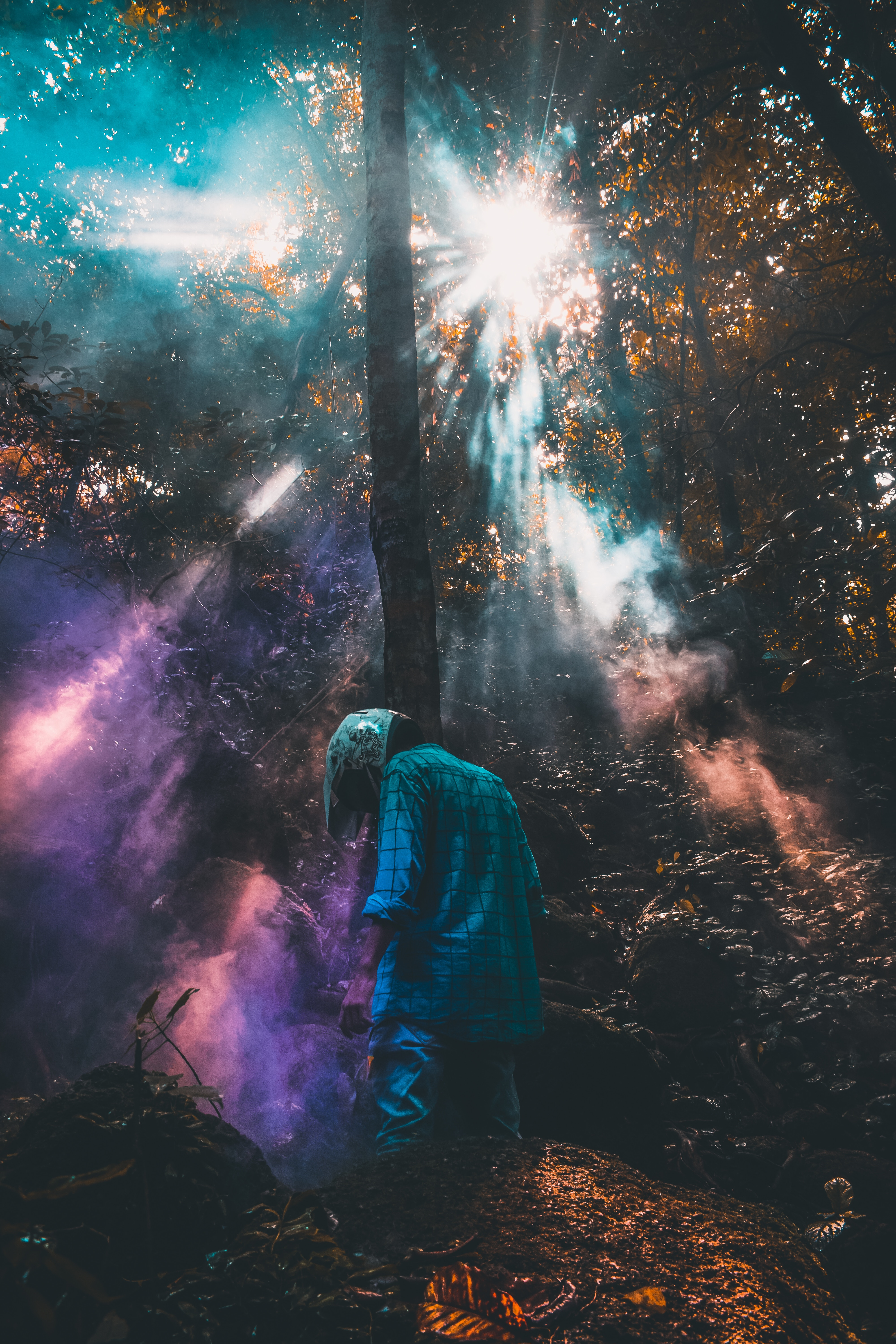 61432 Screensavers and Wallpapers Human for phone. Download Smoke, Miscellanea, Miscellaneous, Forest, Helmet, Human, Person, Loneliness pictures for free