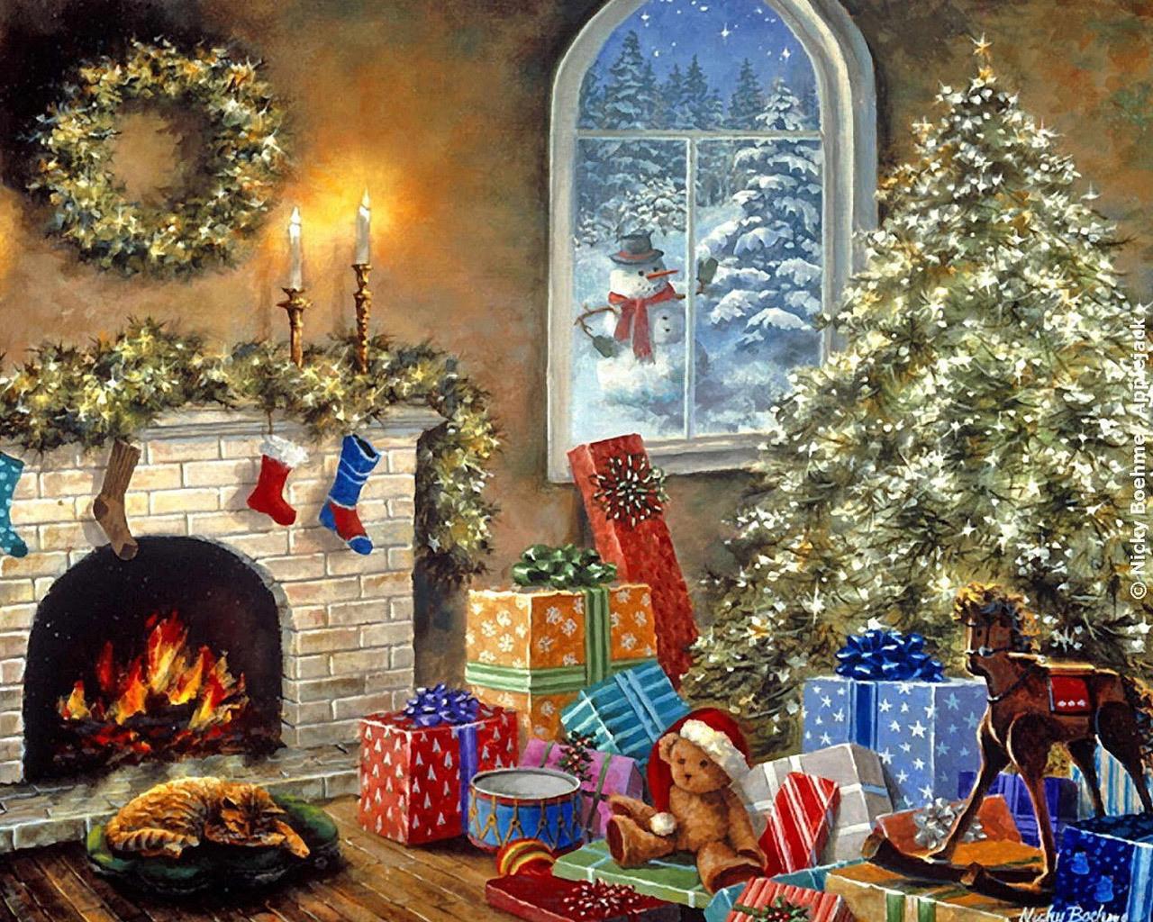 13923 скачать обои Праздники, Новый Год (New Year), Елки, Рождество (Christmas, Xmas), Рисунки - заставки и картинки бесплатно