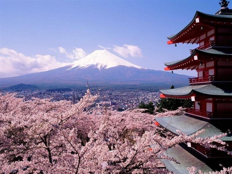 32260 télécharger le fond d'écran Paysage, Montagnes, Asie, Sakura - économiseurs d'écran et images gratuitement