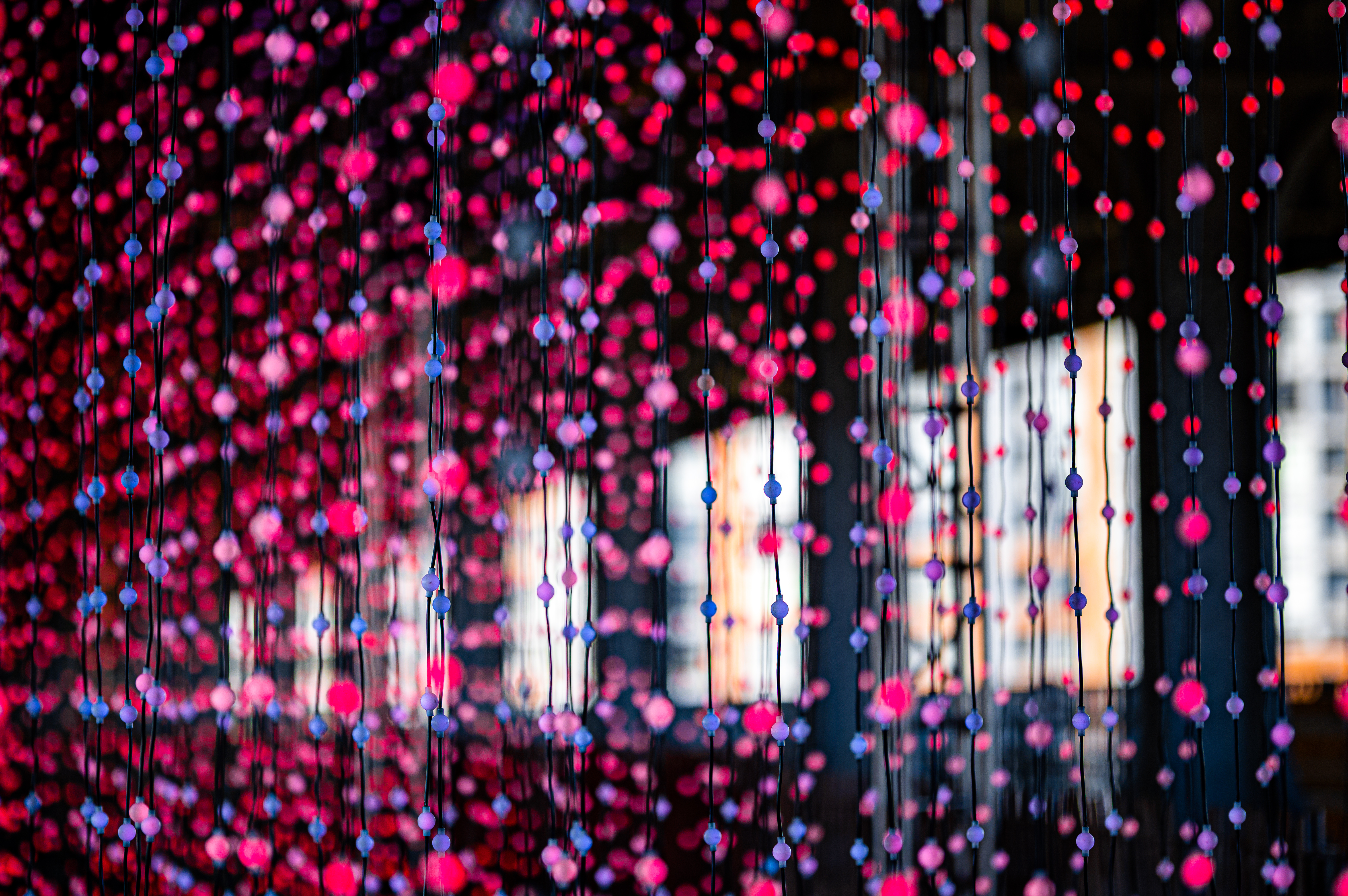 147165 download wallpaper Miscellanea, Miscellaneous, Garlands, Garland, Lights, Multicolored, Motley, Decoration, Glow screensavers and pictures for free