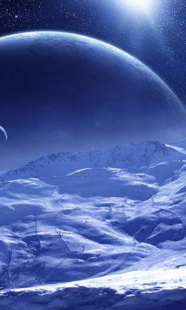 20361 скачать обои Пейзаж, Планеты, Космос, Звезды, Снег - заставки и картинки бесплатно