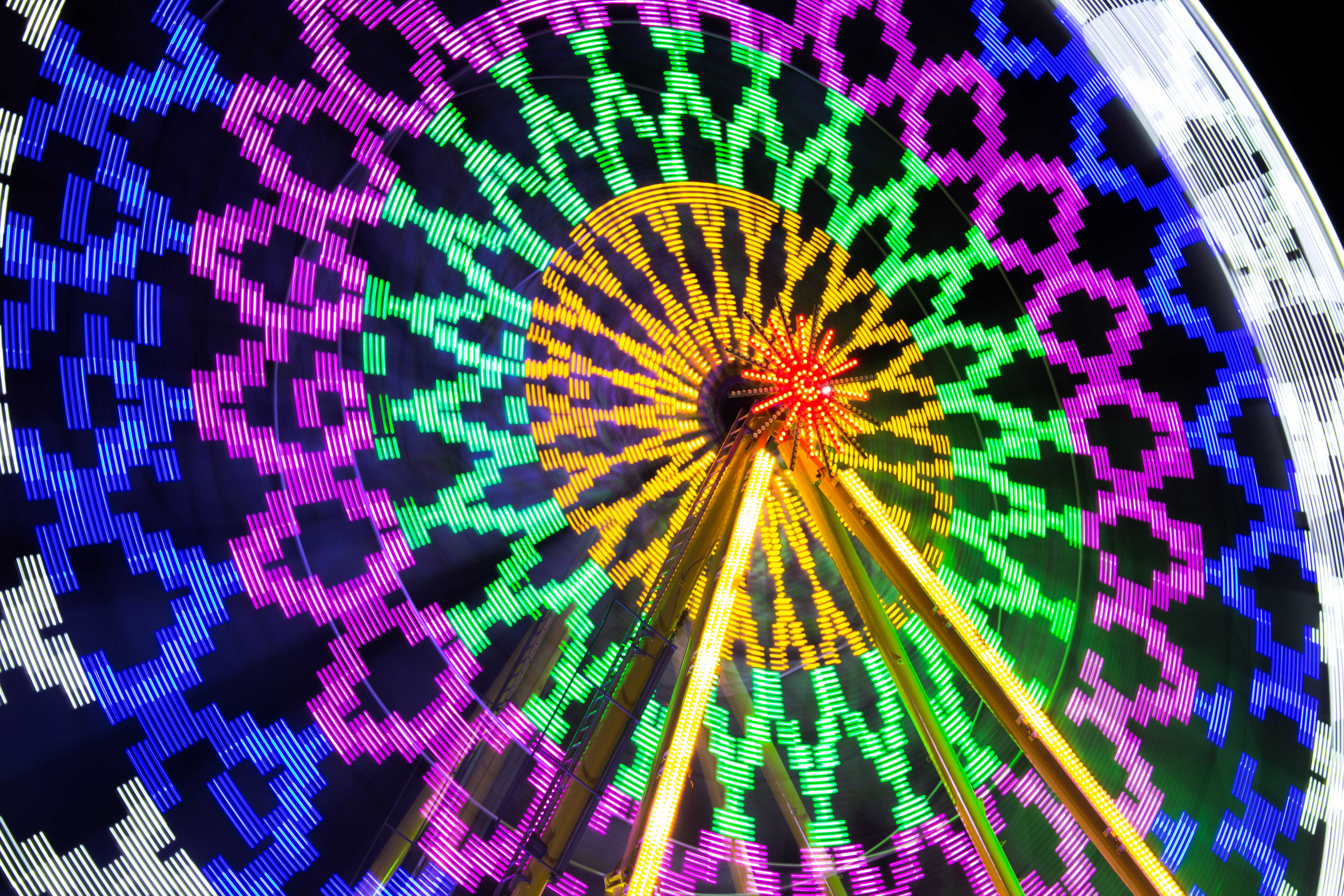 71715 download wallpaper Miscellanea, Miscellaneous, Ferris Wheel, Attraction, Neon, Shine, Light, Long Exposure screensavers and pictures for free