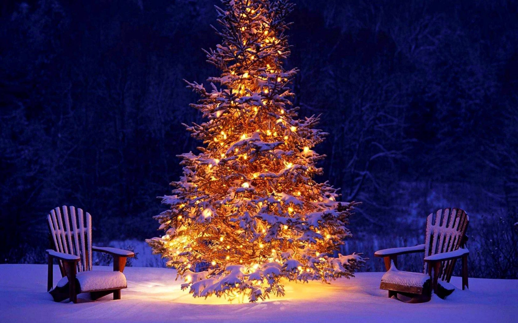 118196 скачать обои Новый Год, Елка, Праздники, Снег, Рождество, Украшение, Стулья, Гирлянды - заставки и картинки бесплатно