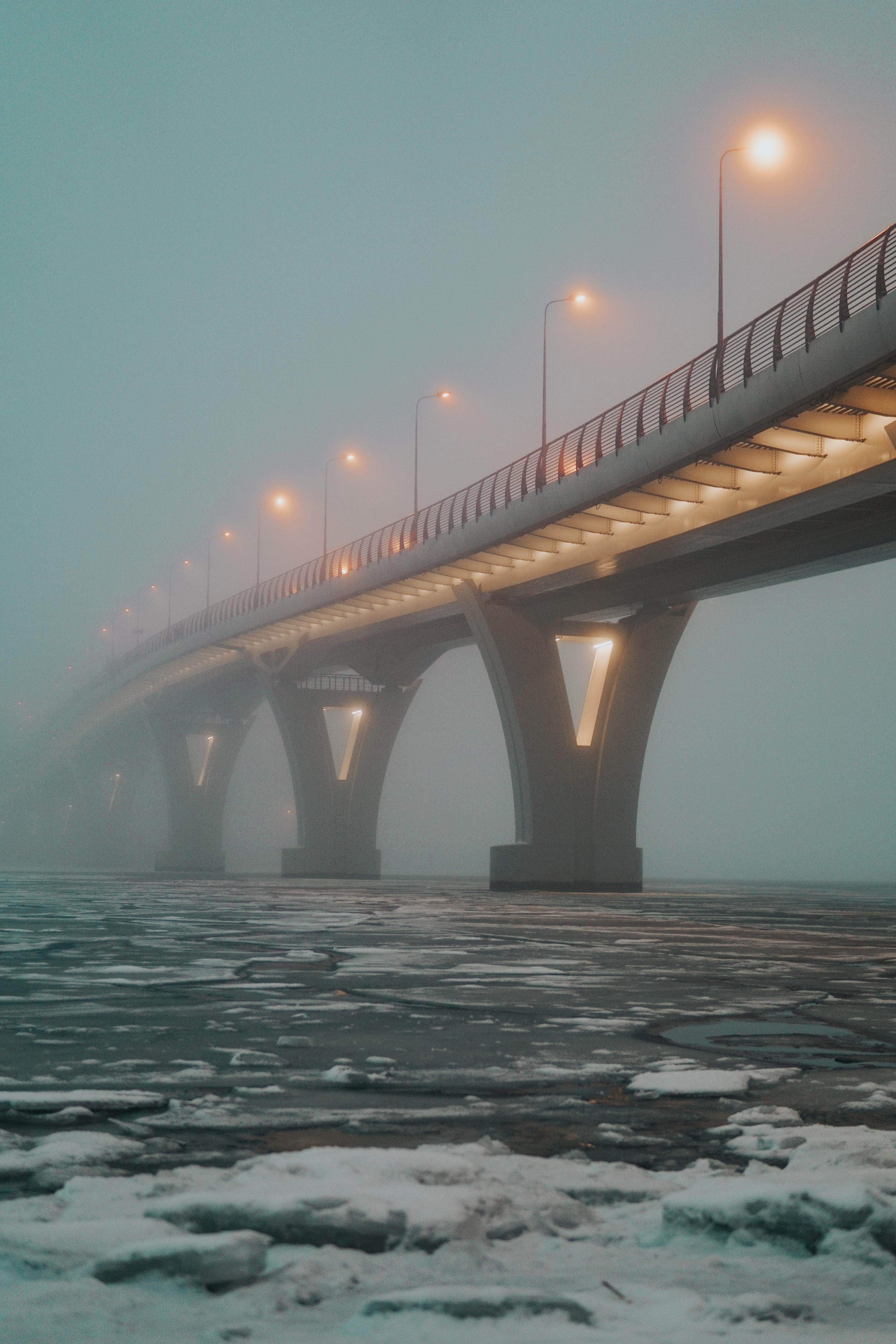 145872 Заставки и Обои Лед на телефон. Скачать Лед, Огни, Разное, Туман, Мост, Трещины картинки бесплатно