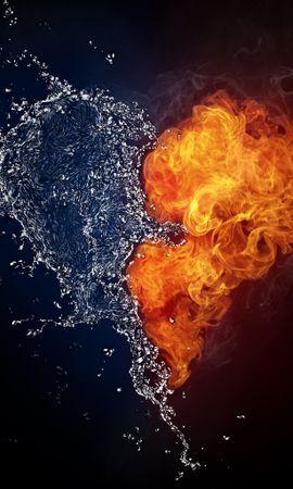 12607 скачать обои Вода, Фон, Арт, Огонь, Сердца, Любовь, День Святого Валентина (Valentine's Day) - заставки и картинки бесплатно