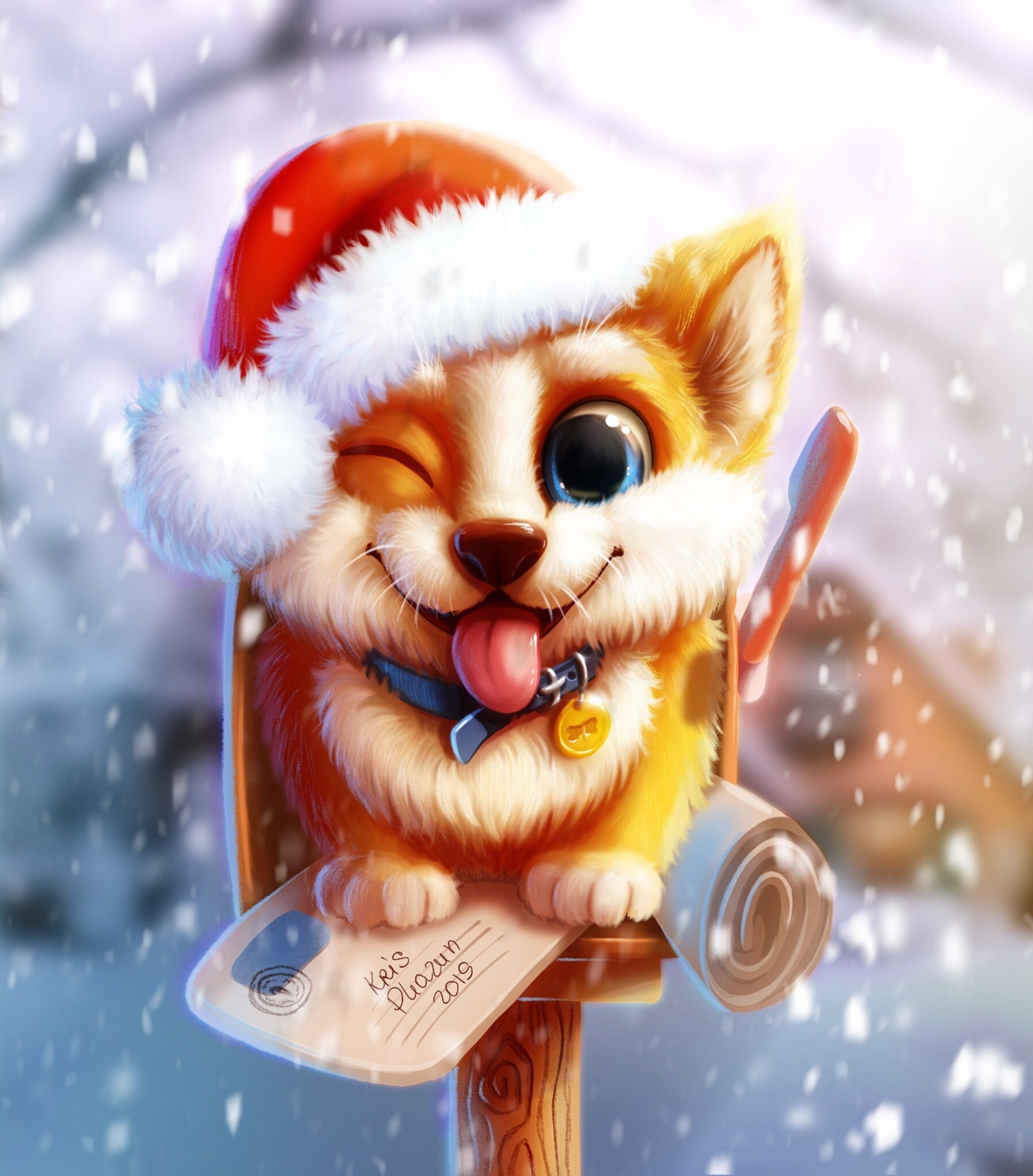 127649 download wallpaper Dog, Art, Snow, Nice, Sweetheart, Mailbox screensavers and pictures for free