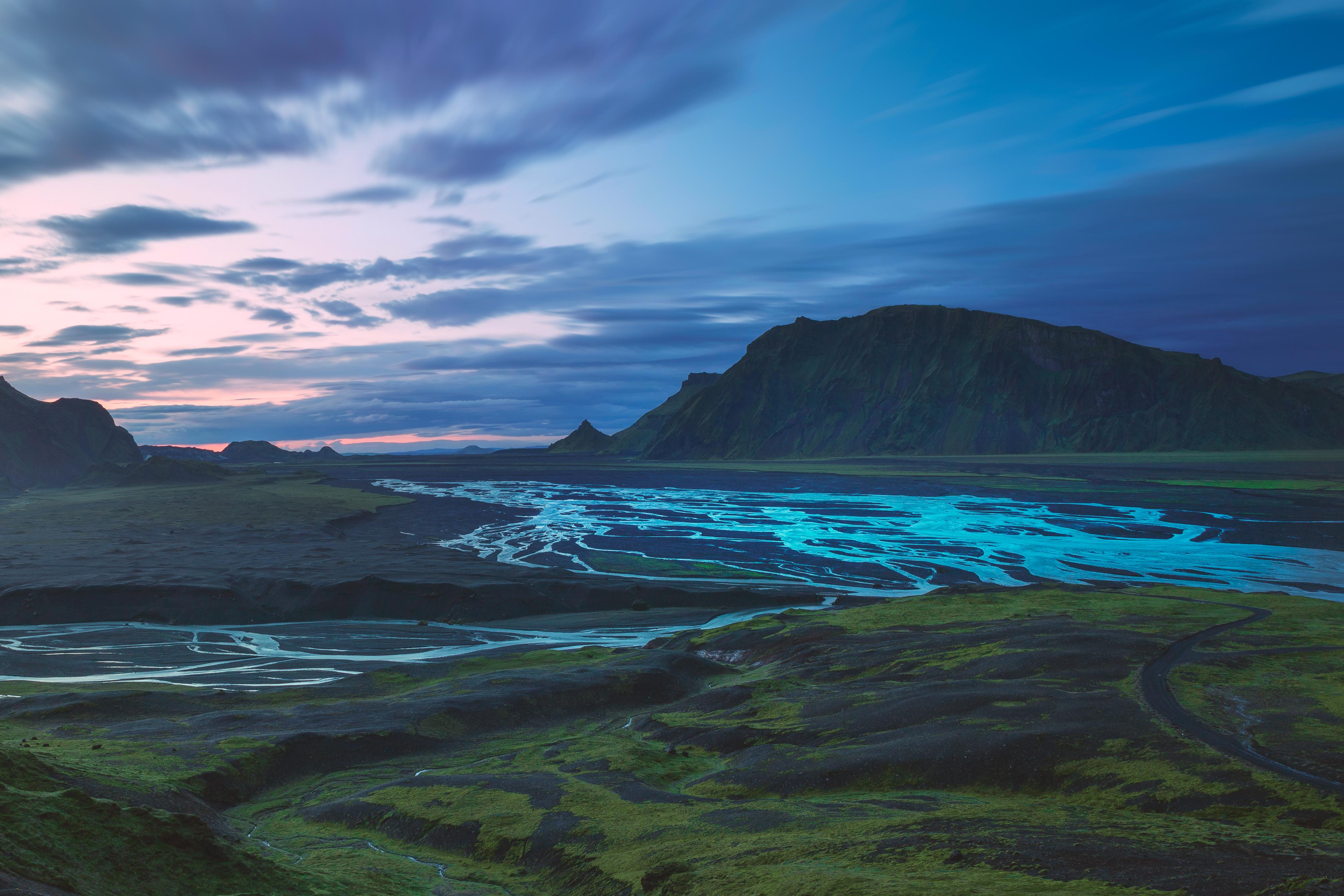 87197 завантажити шпалери Природа, Річка, Долина, Ісландія, Гори, Пейзаж - заставки і картинки безкоштовно