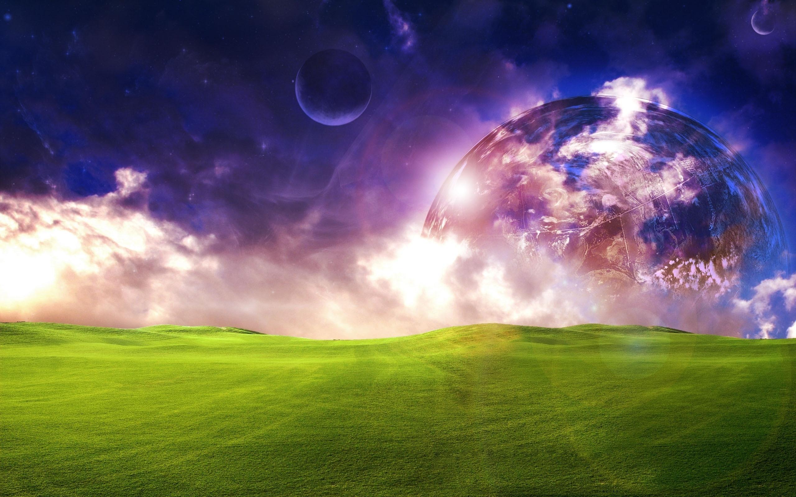 21668 скачать обои Пейзаж, Поля, Небо, Планеты, Космос - заставки и картинки бесплатно