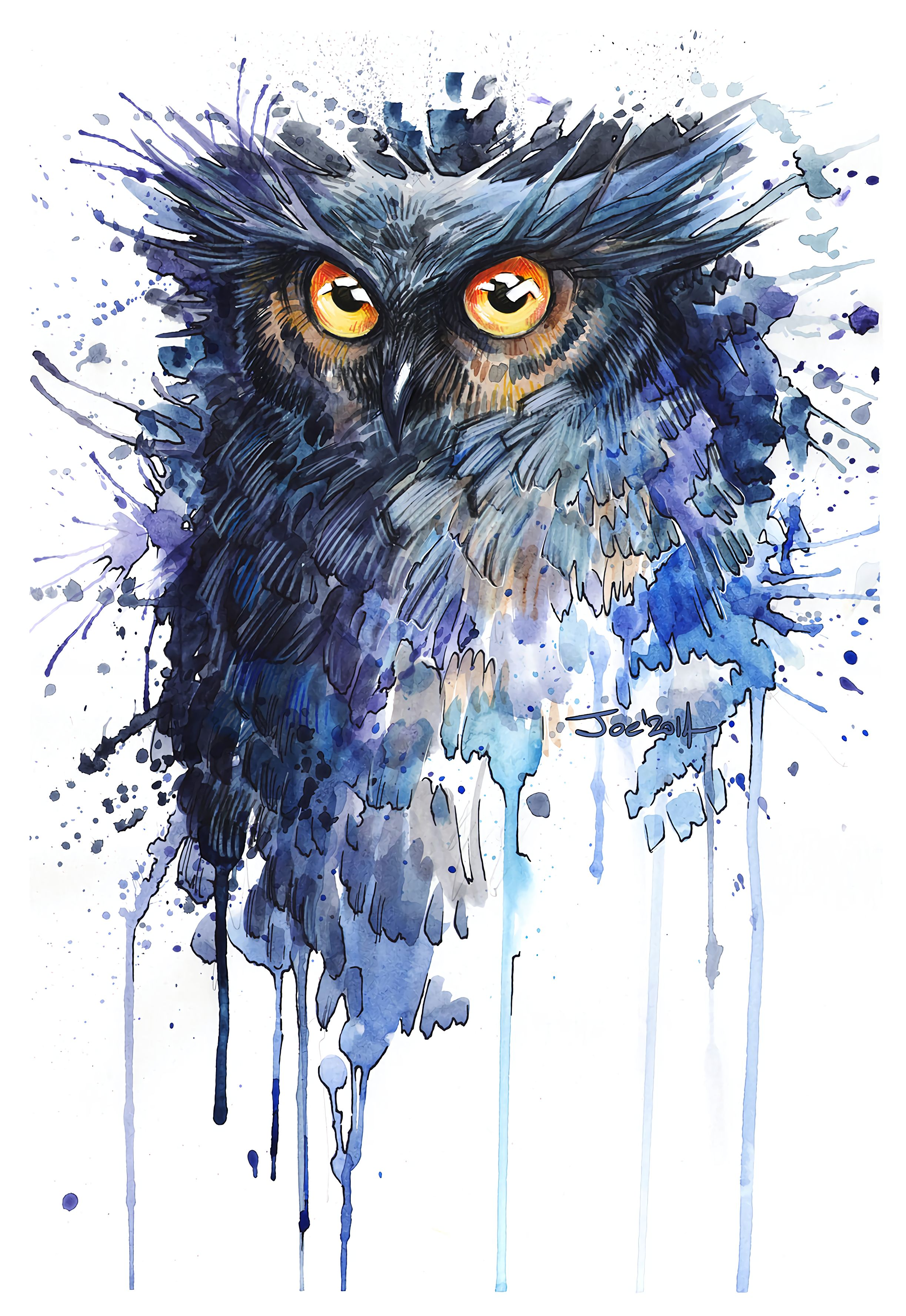 85342 Screensavers and Wallpapers Owl for phone. Download Owl, Art, Stains, Spots, Bird pictures for free