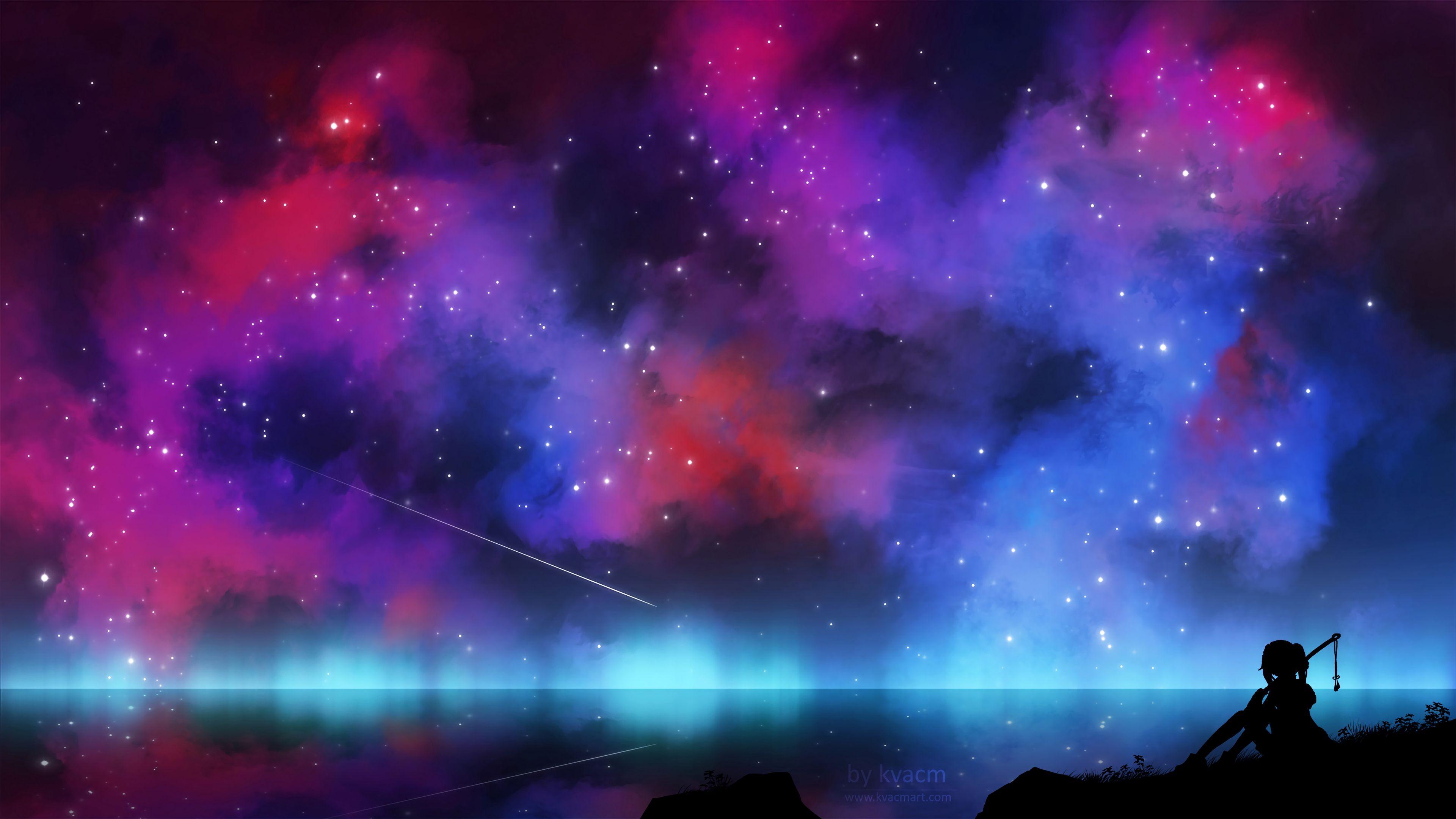 113857 скачать обои Темные, Силуэт, Ночь, Сияние, Арт, Звезды - заставки и картинки бесплатно