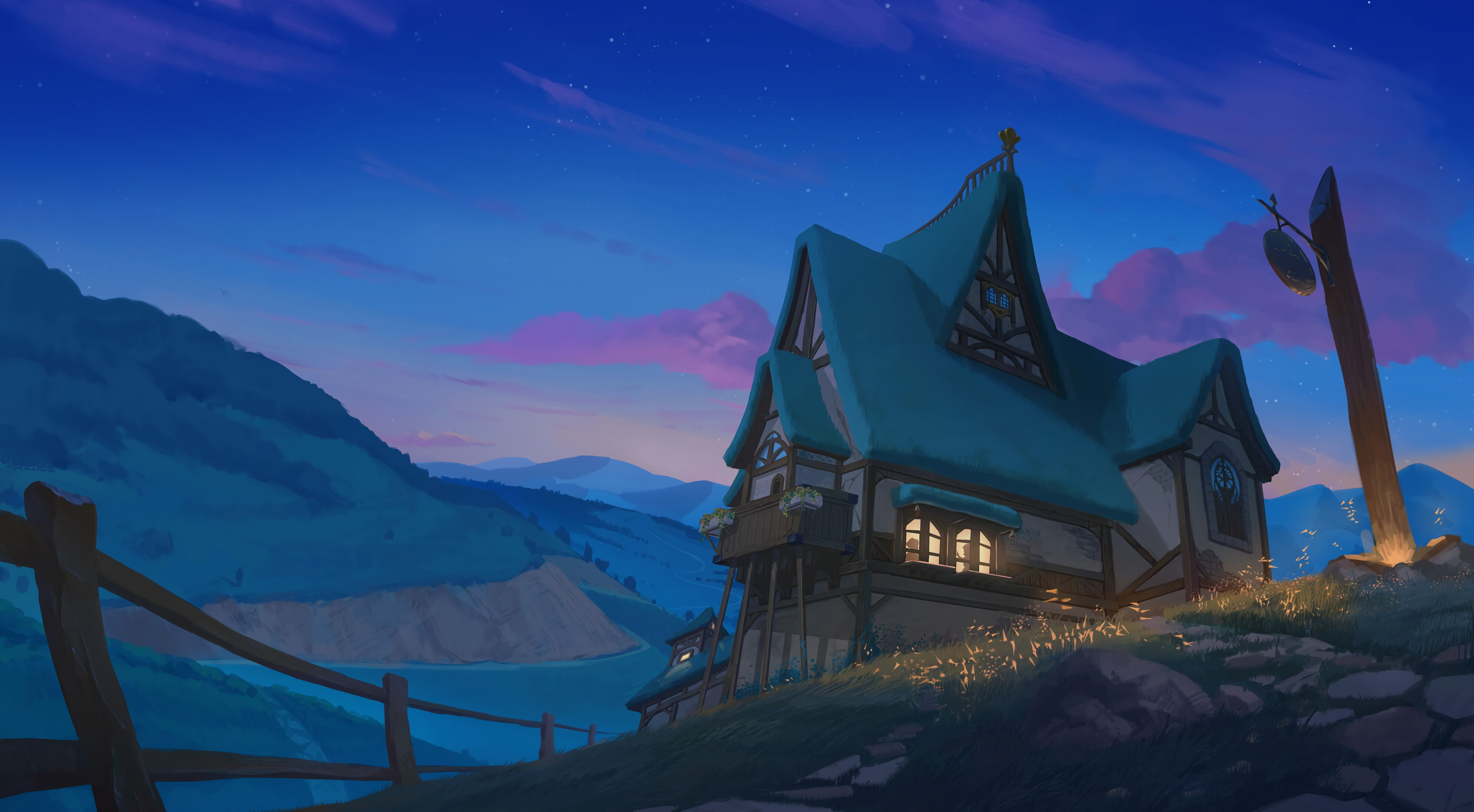 143665 download wallpaper Night, Rivers, Art, Mountains, House screensavers and pictures for free