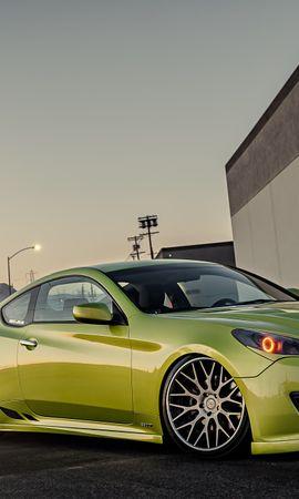 70860 скачать Зеленые обои на телефон бесплатно, Тачки (Cars), Хюндай (Hyundai), Stance, Genesis Зеленые картинки и заставки на мобильный