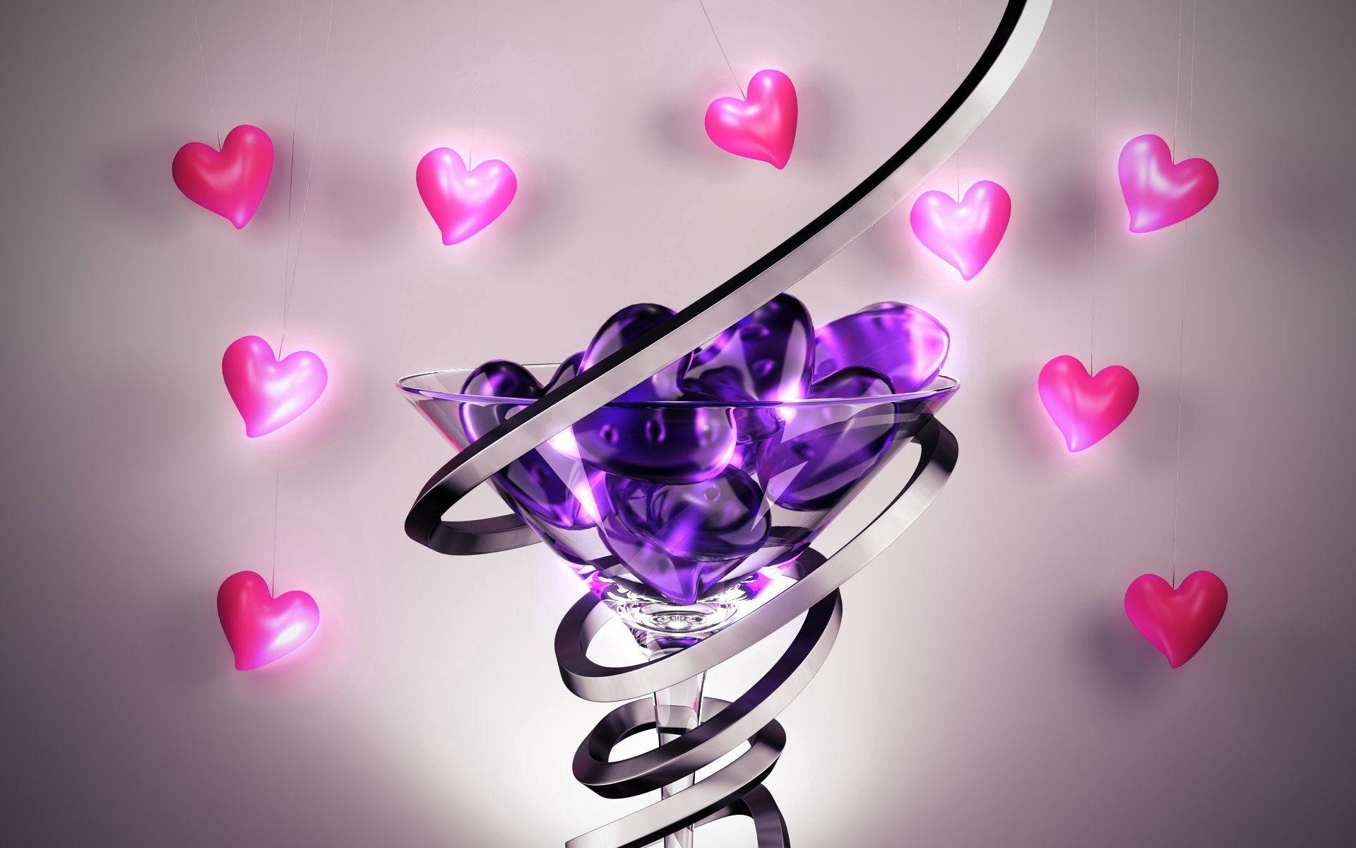 103046 Salvapantallas y fondos de pantalla 3D en tu teléfono. Descarga imágenes de 3D, La Forma, Forma, Vidrio, Un Corazón, Corazón, Espiral gratis