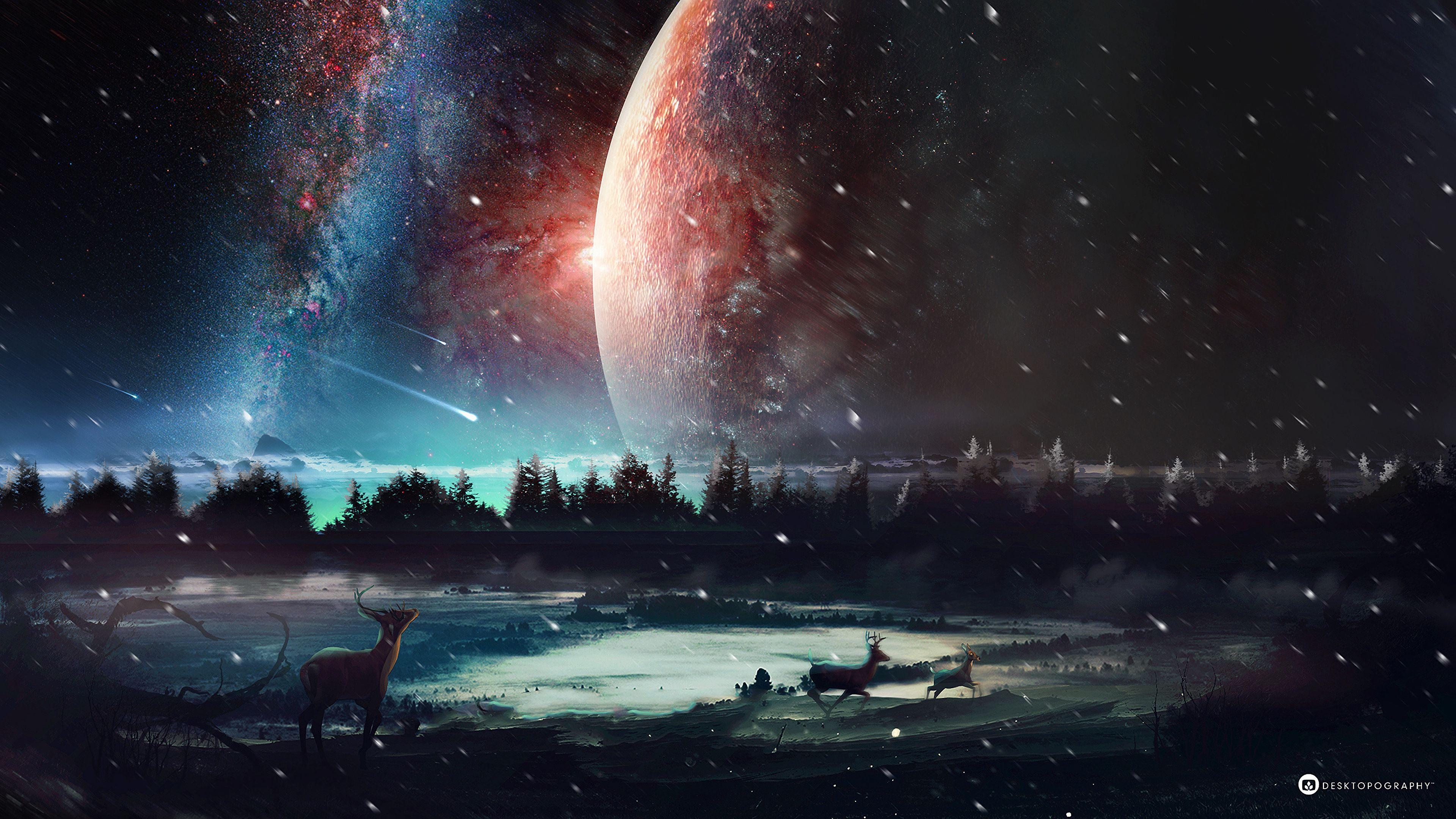 52629 Screensavers and Wallpapers Stars for phone. Download Fantasy, Art, Universe, Stars, Planet, Deer pictures for free