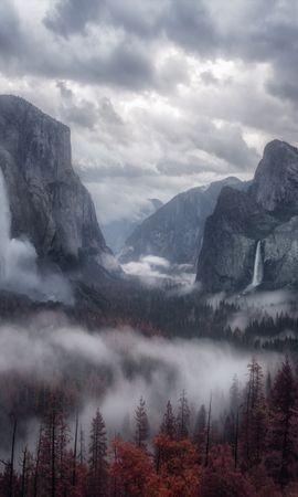 138425 Заставки и Обои Деревья на телефон. Скачать Природа, Туман, Деревья, Небо, Горы картинки бесплатно