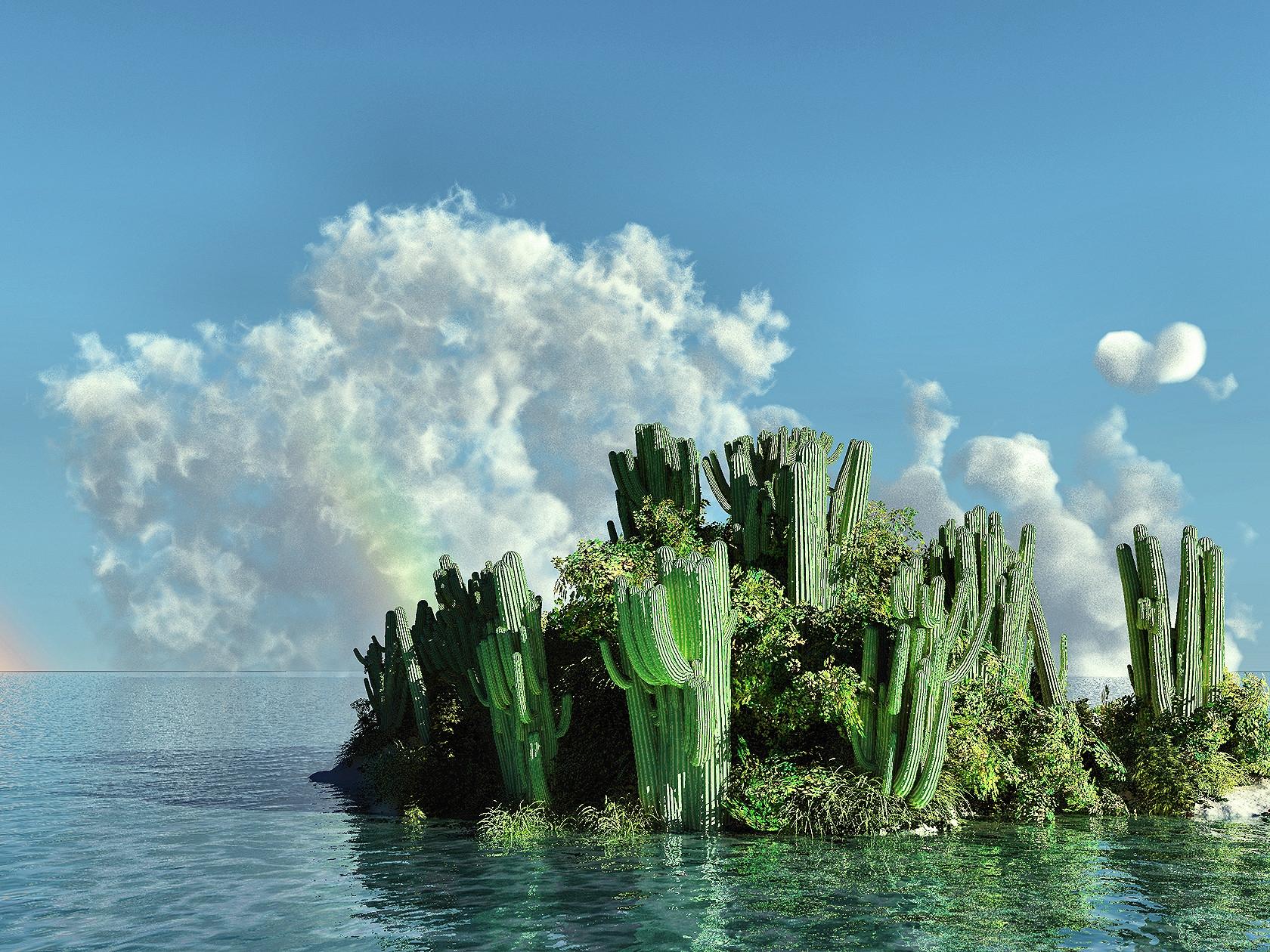 102128 Заставки и Обои Кактусы на телефон. Скачать Природа, Кактусы, Море, Остров картинки бесплатно