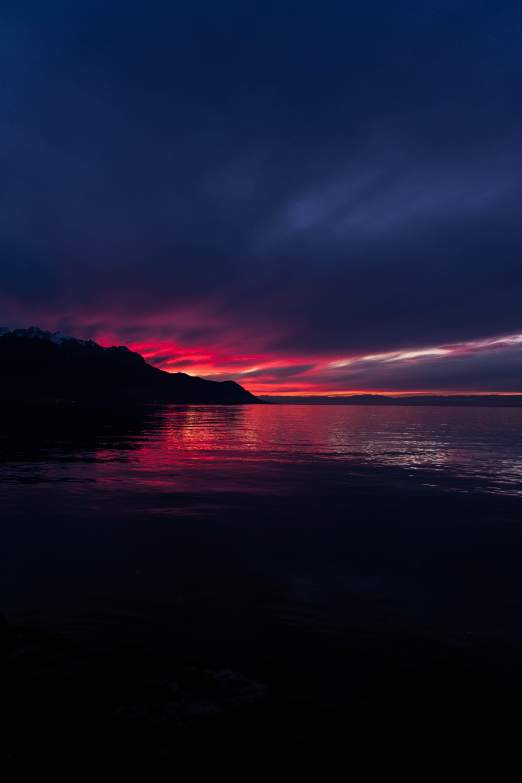 101053 скачать обои Природа, Закат, Горы, Море, Ночь, Горизонт, Темный, Швейцария - заставки и картинки бесплатно