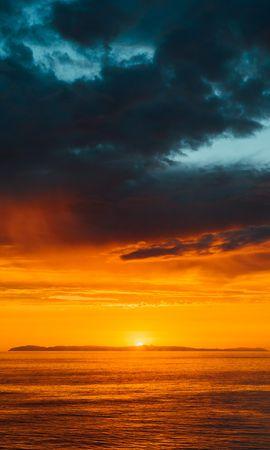 116890 скачать обои Природа, Море, Горизонт, Закат, Облака, Небо, Темный, Солнце - заставки и картинки бесплатно