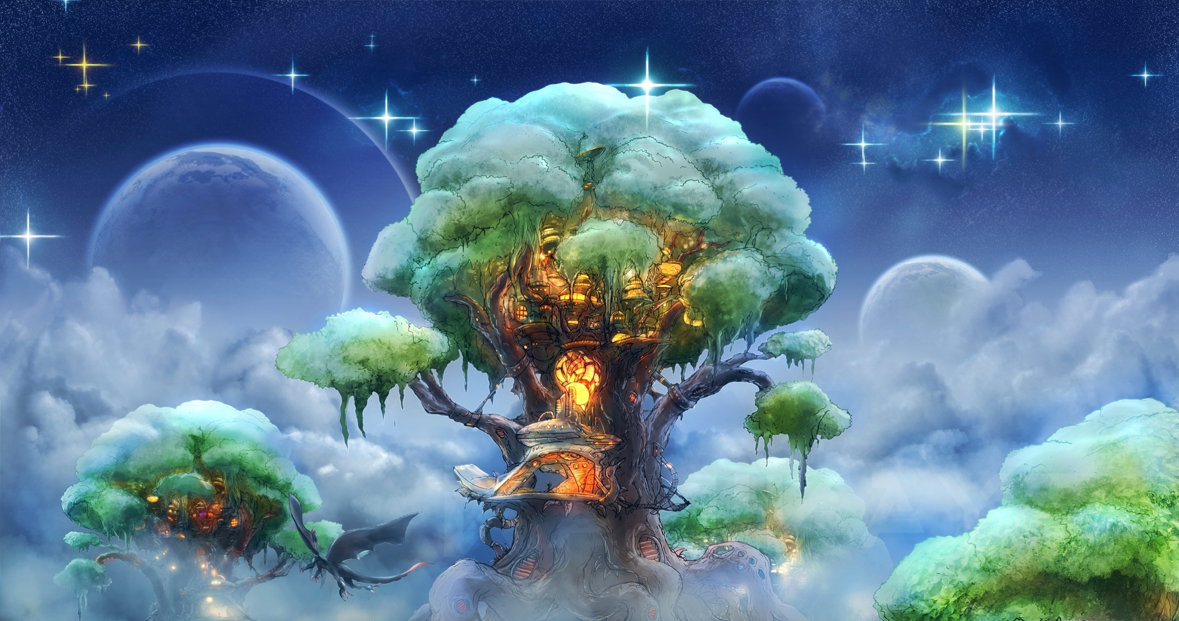 93934 download wallpaper Fantasy, Magic, Art, Wood, Tree screensavers and pictures for free