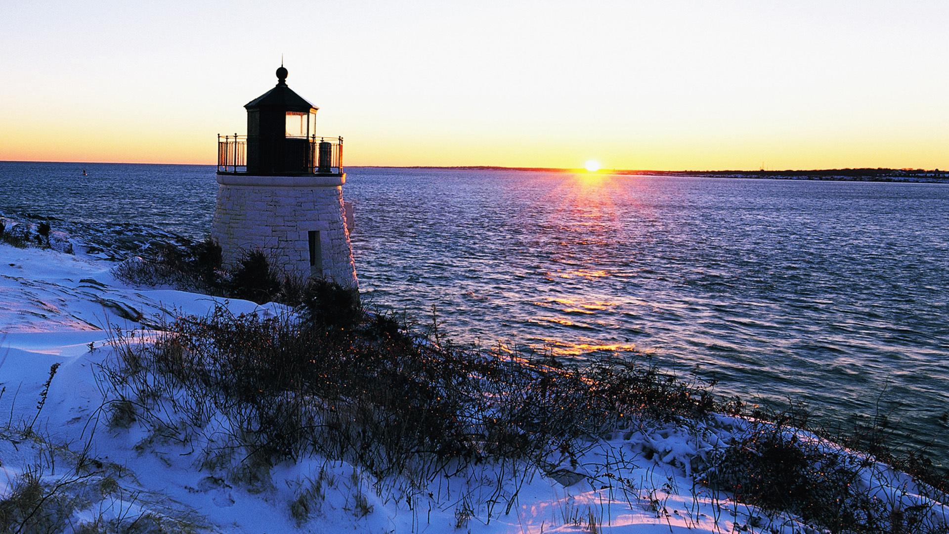 24262 скачать обои Пейзаж, Зима, Закат, Море, Снег, Маяки - заставки и картинки бесплатно