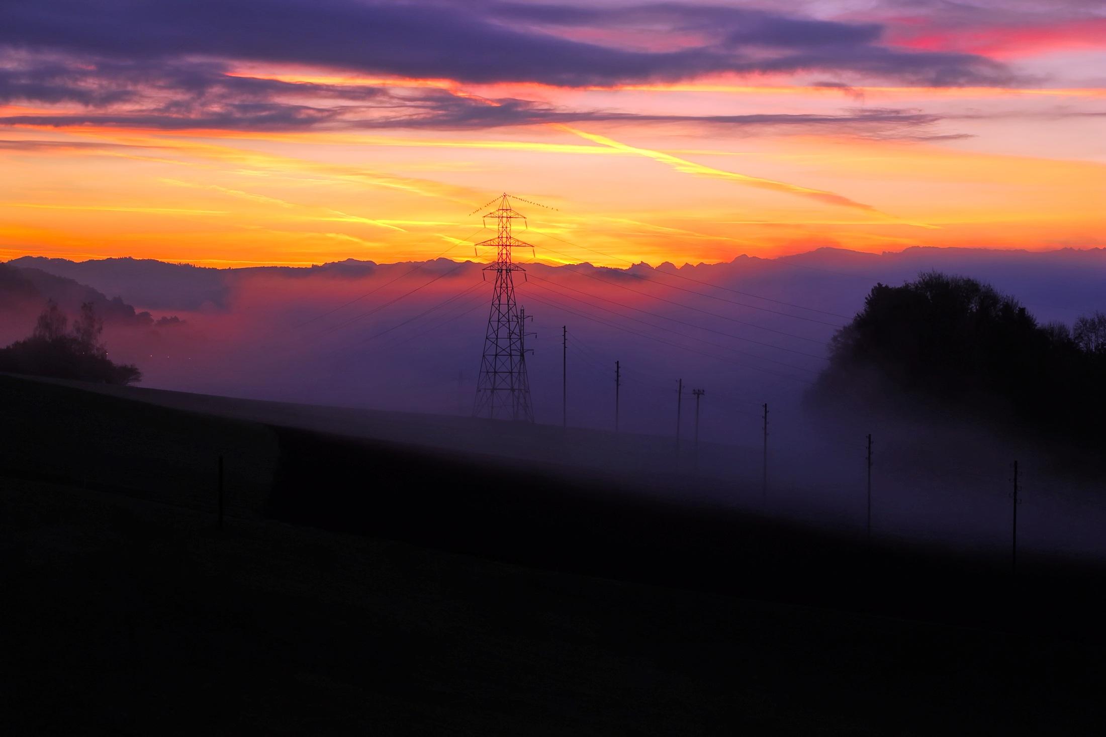 69184 скачать обои Природа, Закат, Туман, Швейцария, Пелена - заставки и картинки бесплатно